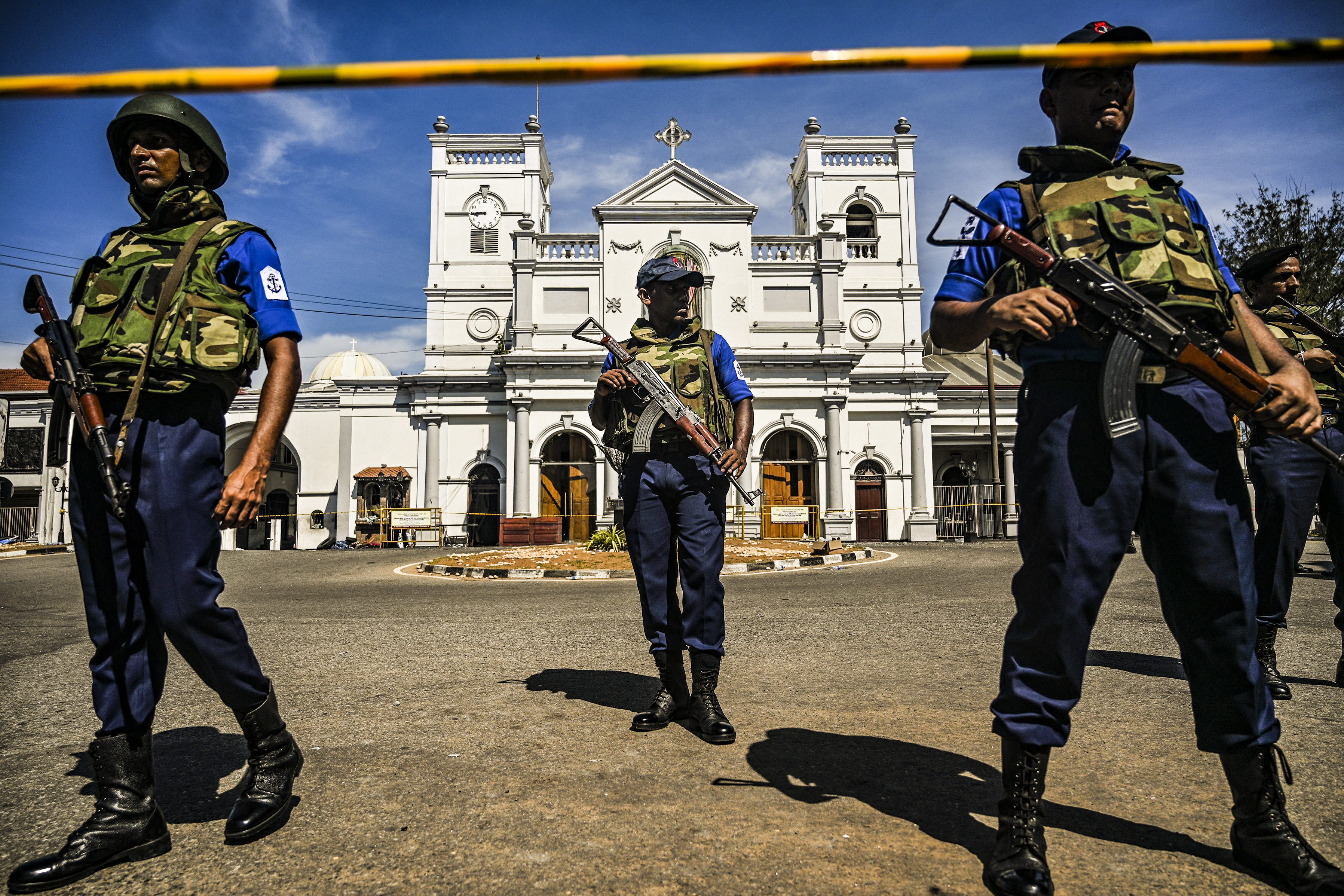 Security personnel stand guard outside St. Anthony's Shrine in Colombo, Sri Lanka, on April 22, 2019, a day after the church was hit in series of bomb blasts.