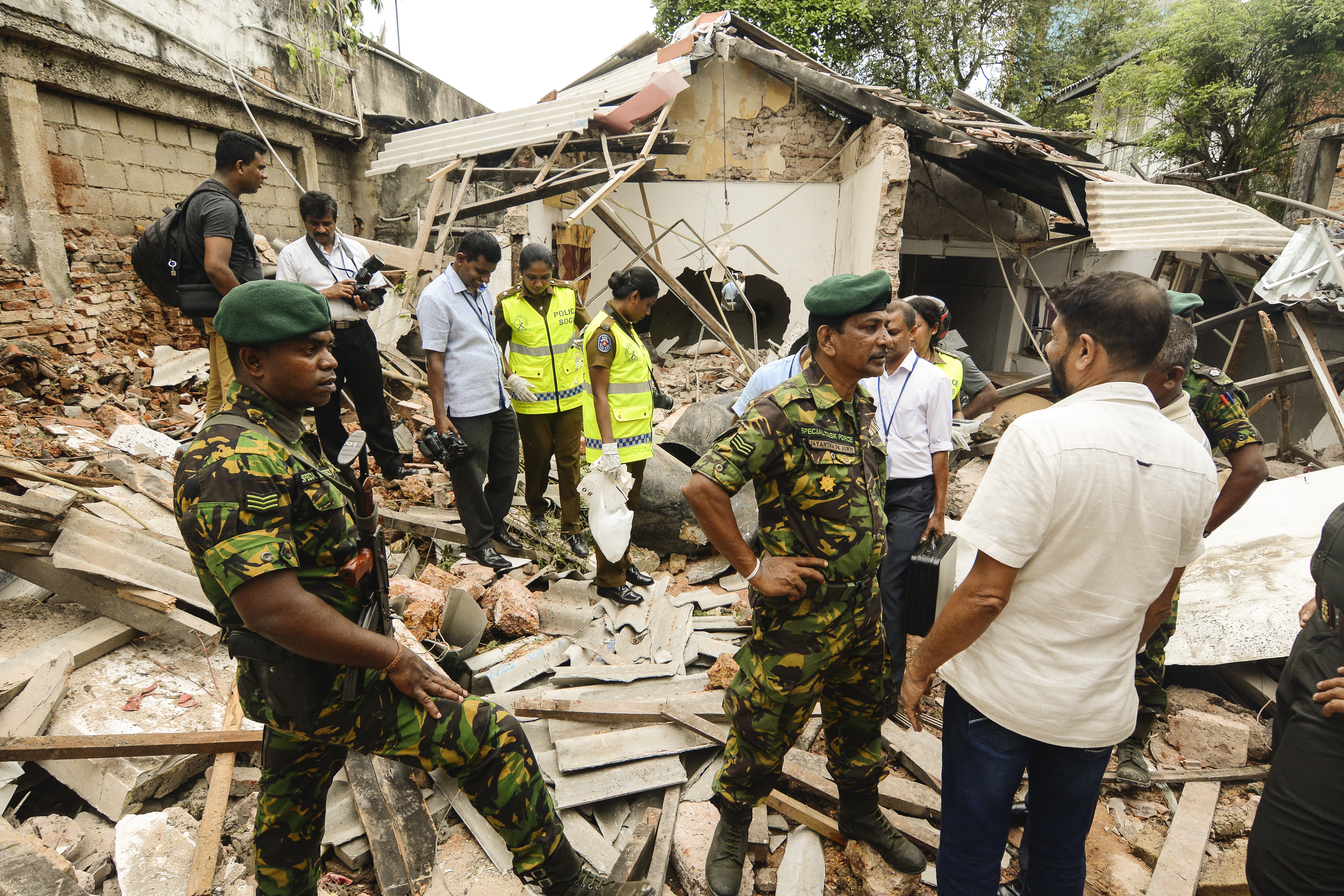 A view of blast site near the Dehiwala zoo, near Colombo.
