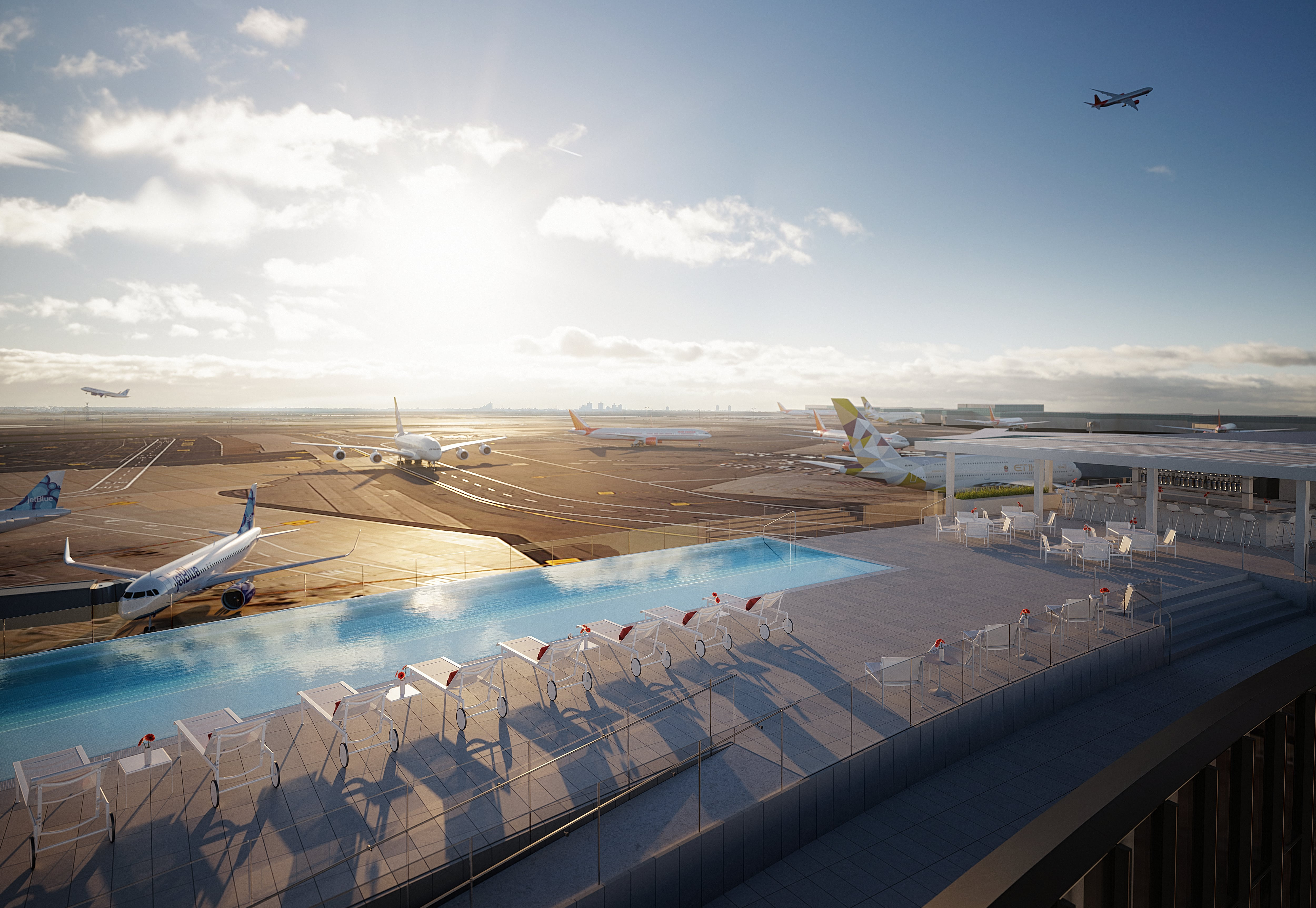 First look at the TWA Hotel's rooftop infinity pool with runway views