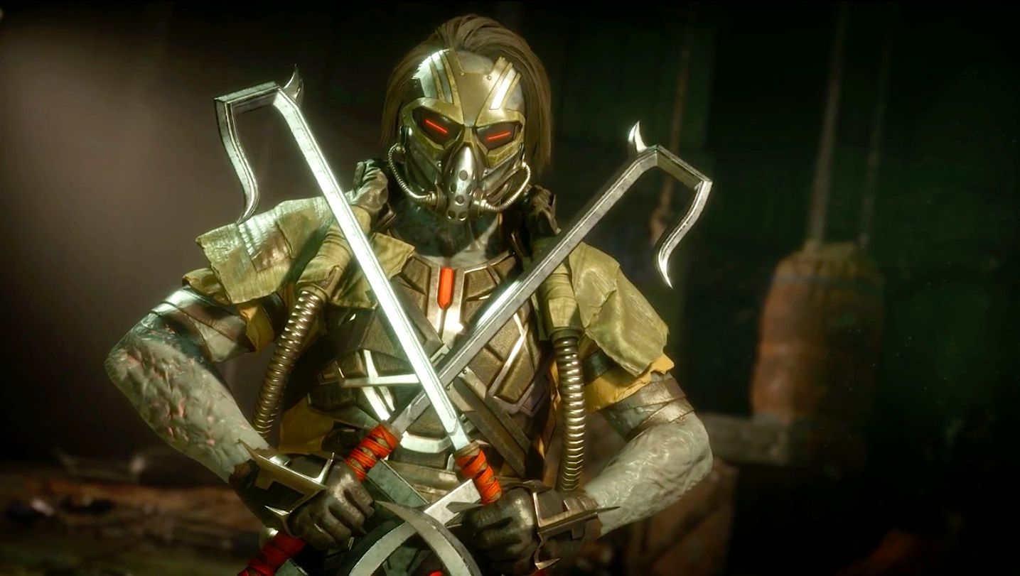 Kabal poses with his dual blades in a screenshot from Mortal Kombat 11.