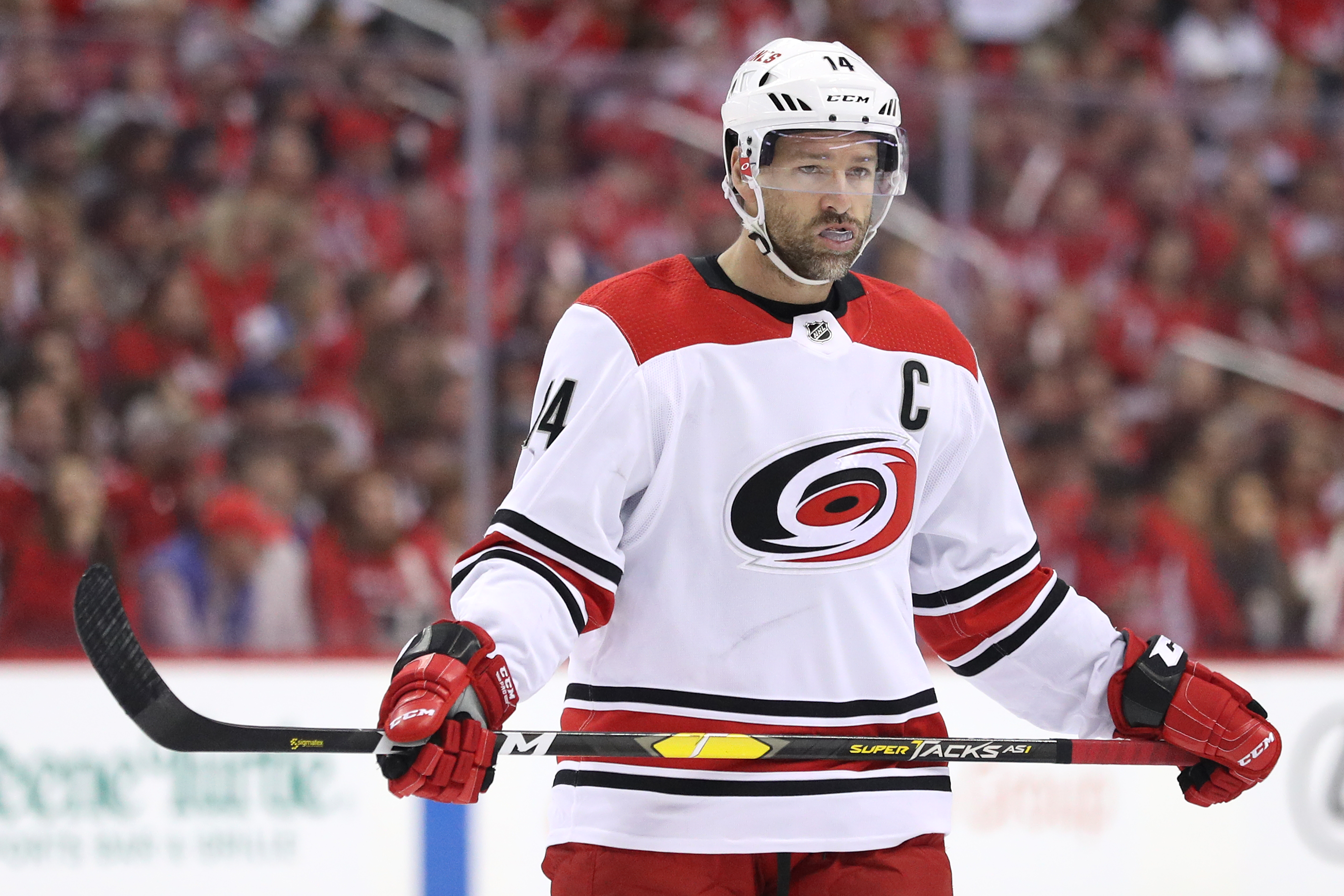 WASHINGTON, DC - APRIL 20: Justin Williams #14 of the Carolina Hurricanes looks on against the Washington Capitals in the first period in Game Five of the Eastern Conference First Round during the 2019 NHL Stanley Cup Playoffs at Capital One Arena on Apri