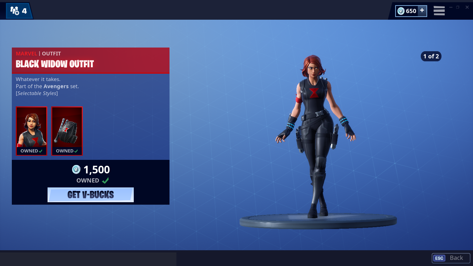 Fortnite has new Marvel skins, starting with Black Widow