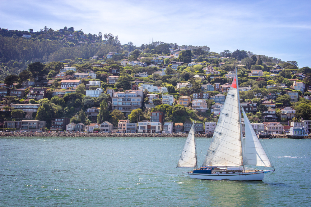 A sailboat passing by waterfront homes in Sausalito.