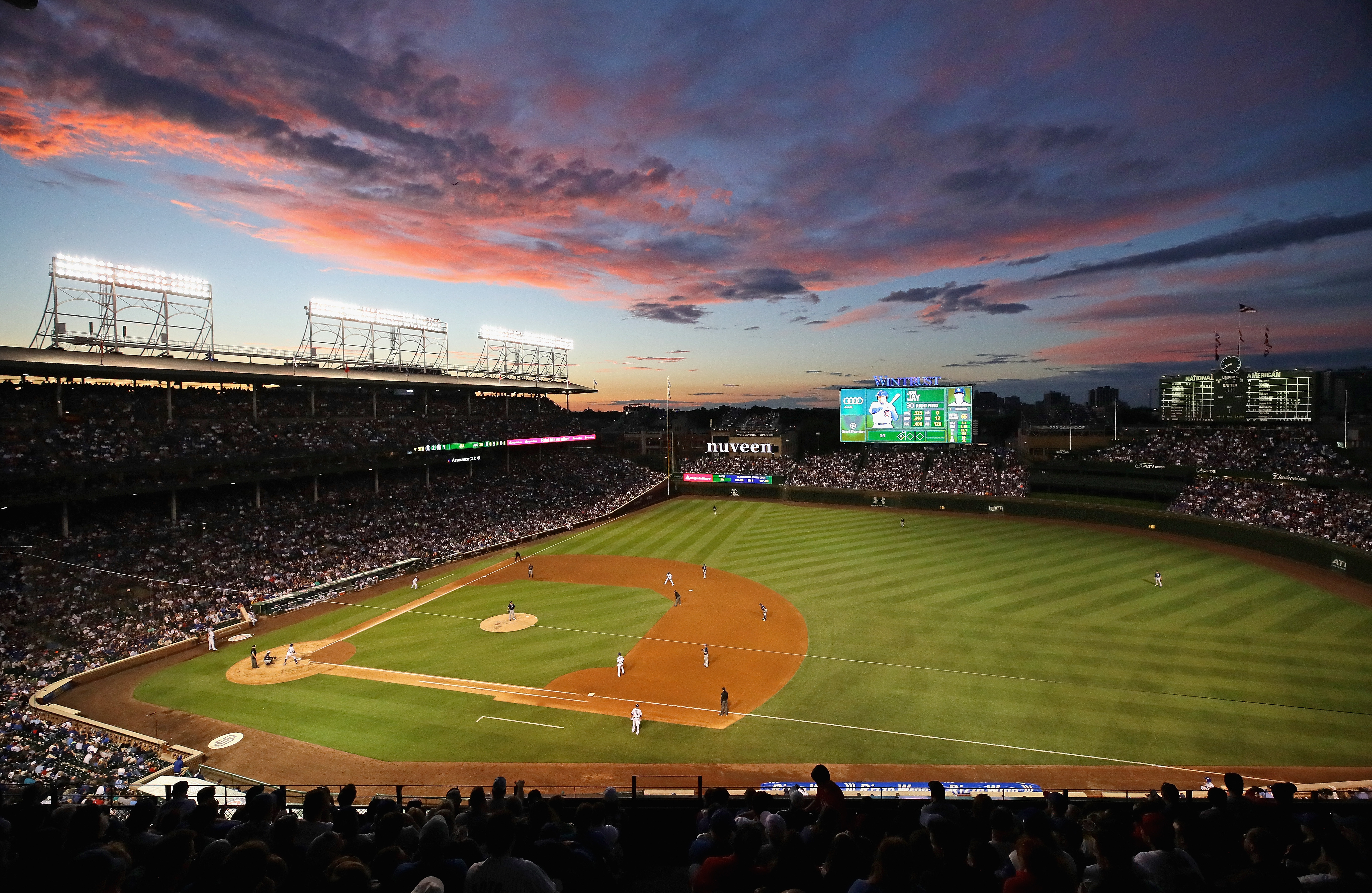 CHICAGO, IL - JUNE 19:  A general view of Wrigley Field at sunset as the Chicago Cubs take on the San Diego Padres on June 19, 2017 in Chicago, Illinois.  (Photo by Jonathan Daniel/Getty Images)