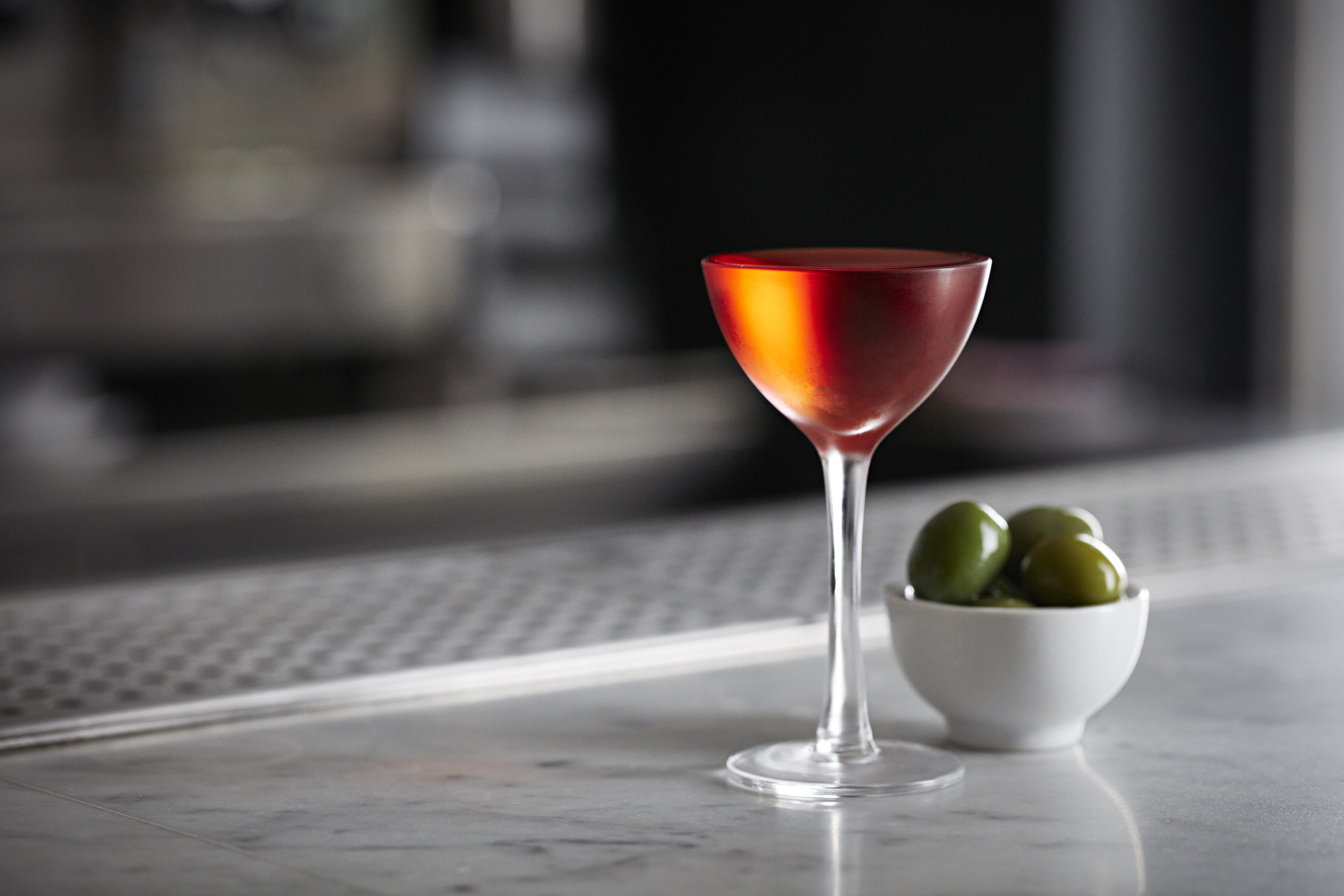 House negroni and olives at Bar Termini Centrale