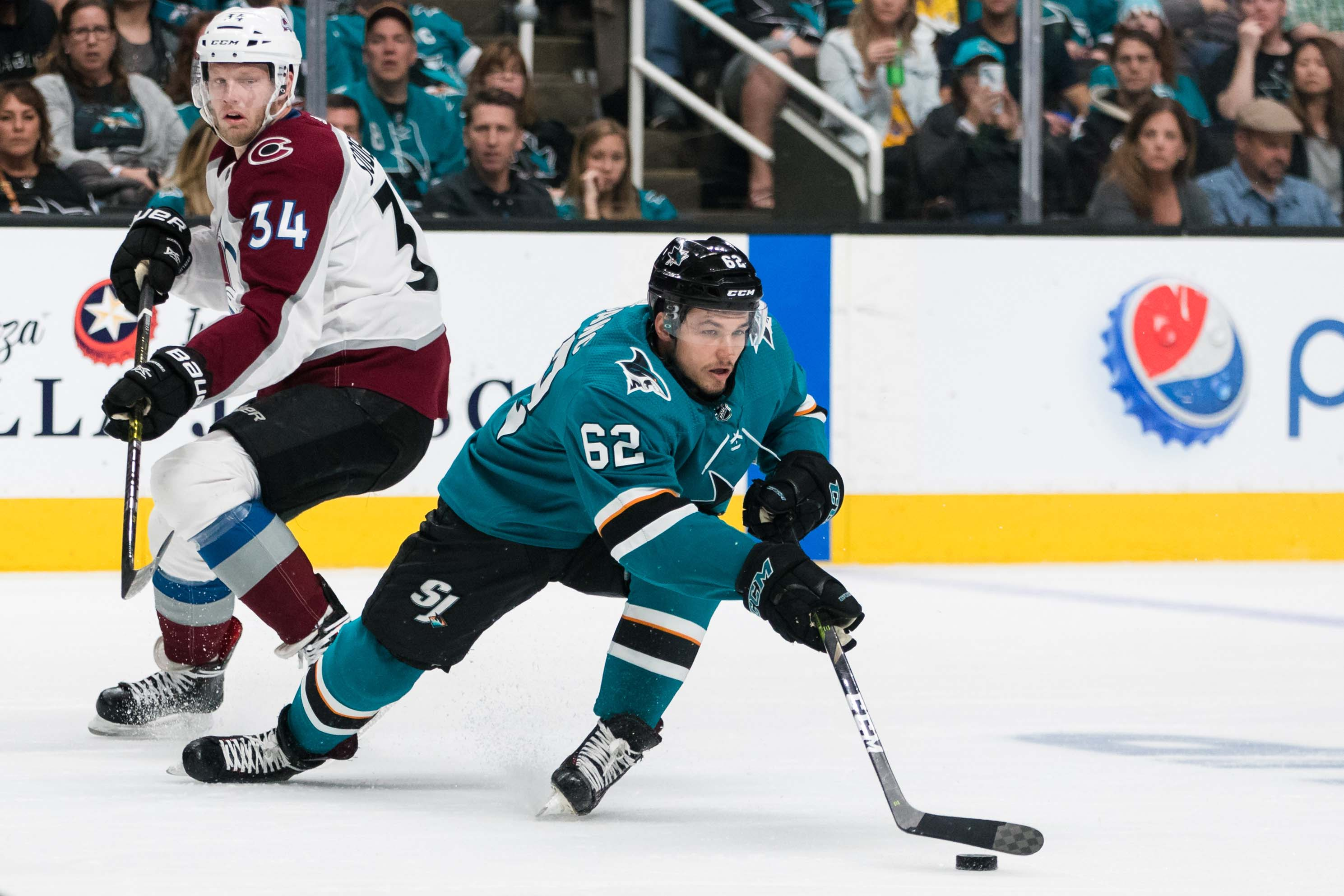 Apr 28, 2019; San Jose, CA, USA; San Jose Sharks right wing Kevin Labanc (62) reaches for the puck against the Colorado Avalanche in the first period of game two of the second round of the 2019 Stanley Cup Playoffs at SAP Center at San Jose. Mandatory Cre