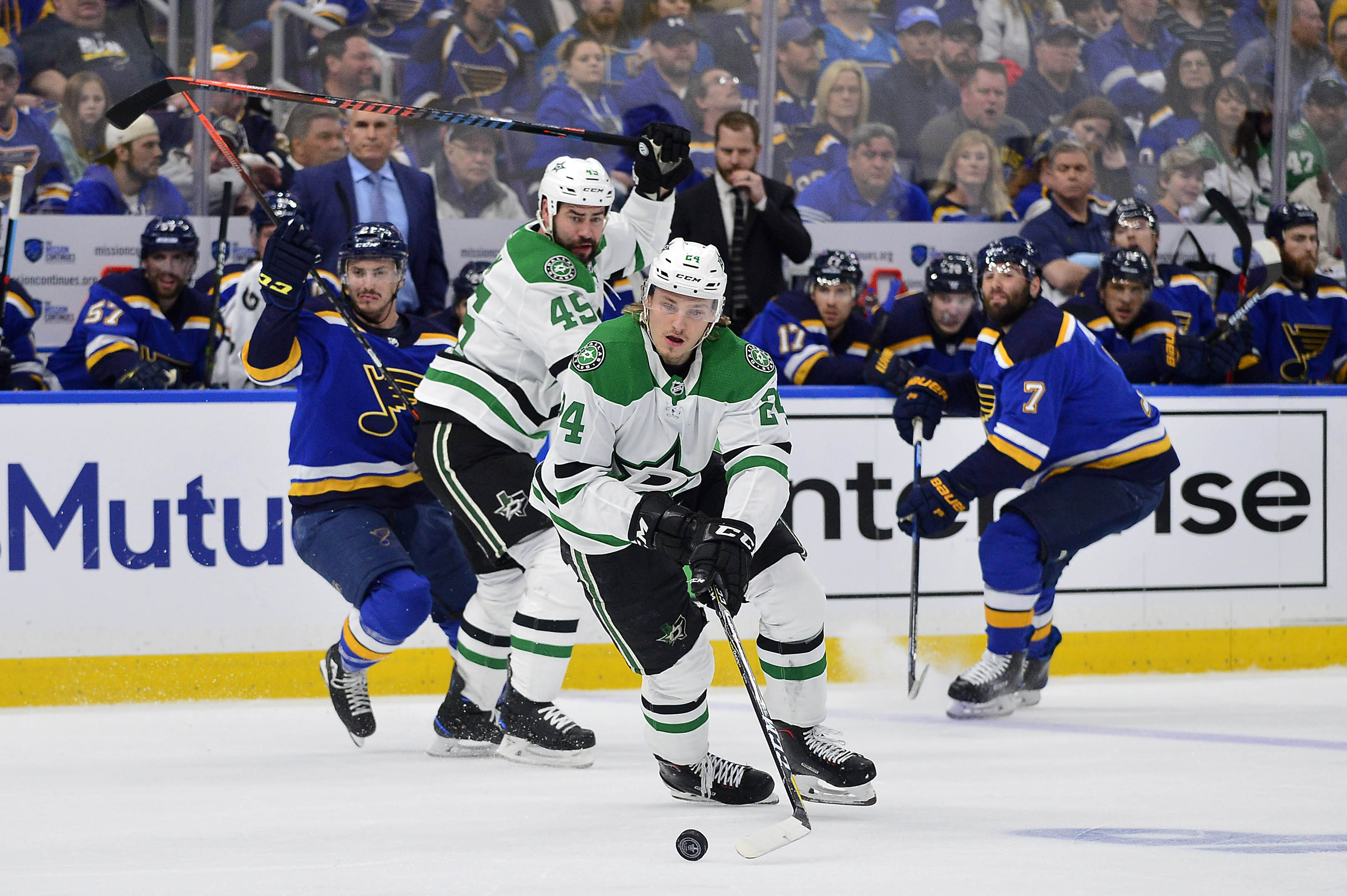 Apr 27, 2019; St. Louis, MO, USA; Dallas Stars left wing Roope Hintz (24) handles the puck during the first period in game two of the second round of the 2019 Stanley Cup Playoffs against the St. Louis Blues at Enterprise Center. Mandatory Credit: Jeff Cu