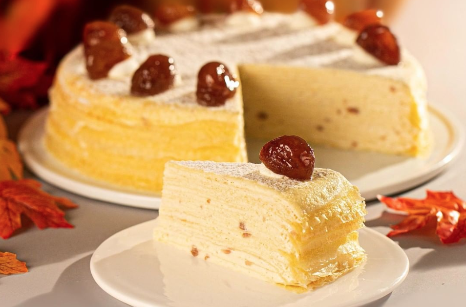 Mille crepe cake topped with candied hazelnuts