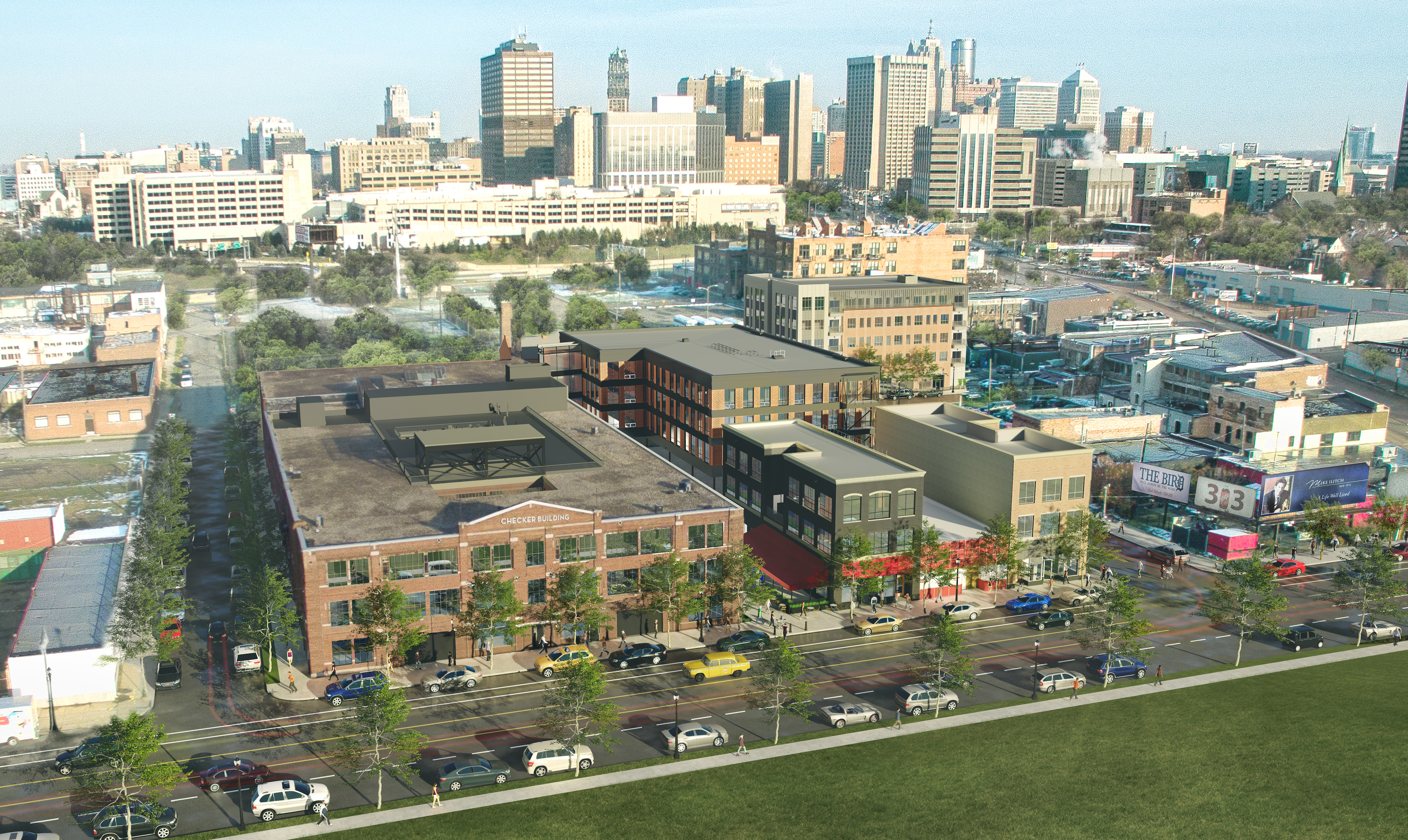 An overhead rendering of a redeveloped brick building with the downtown Detroit skyline in the background