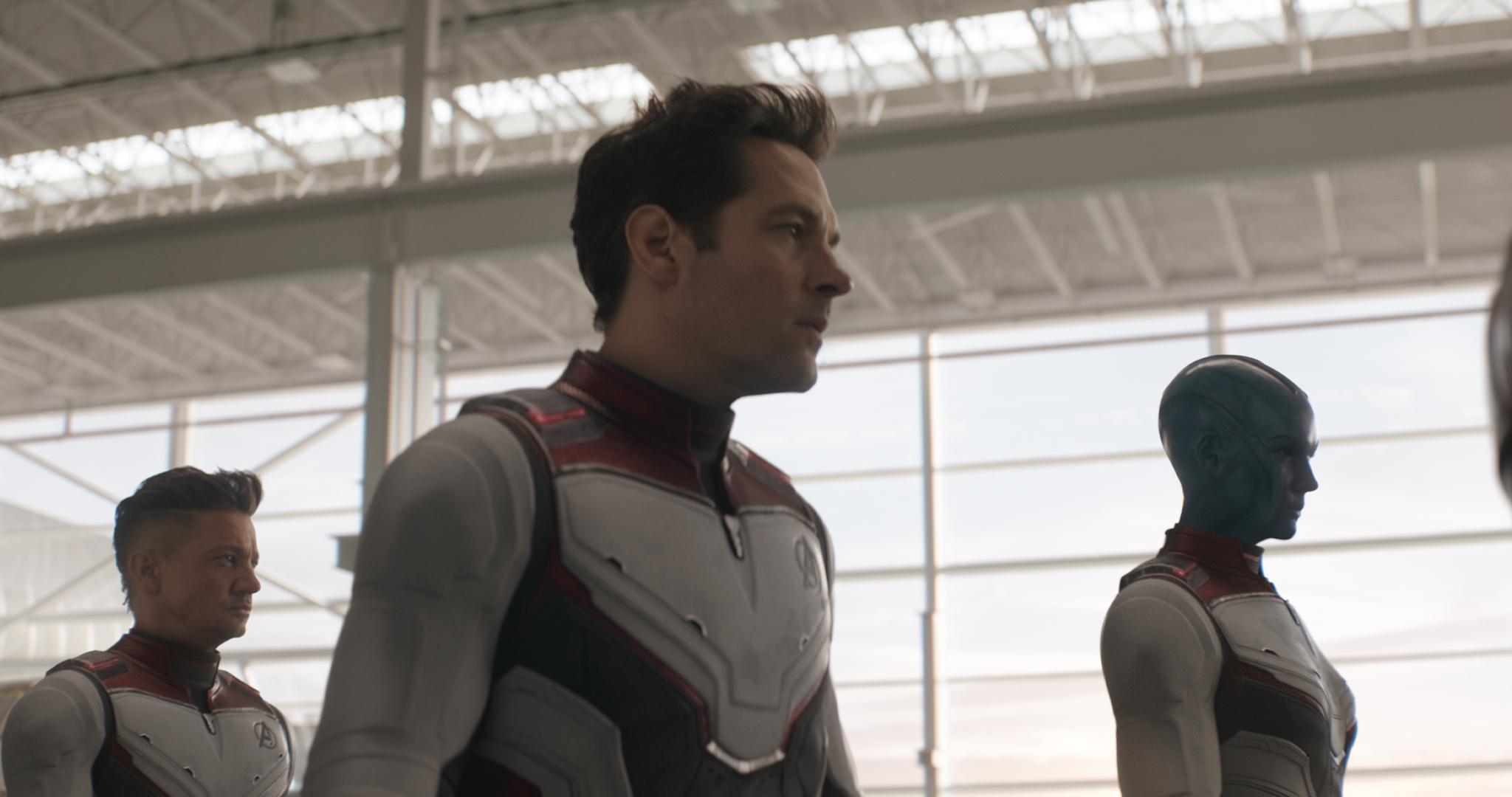 Ant-Man flanked by Hawkeye and Nebula in Avengers: Endgame.