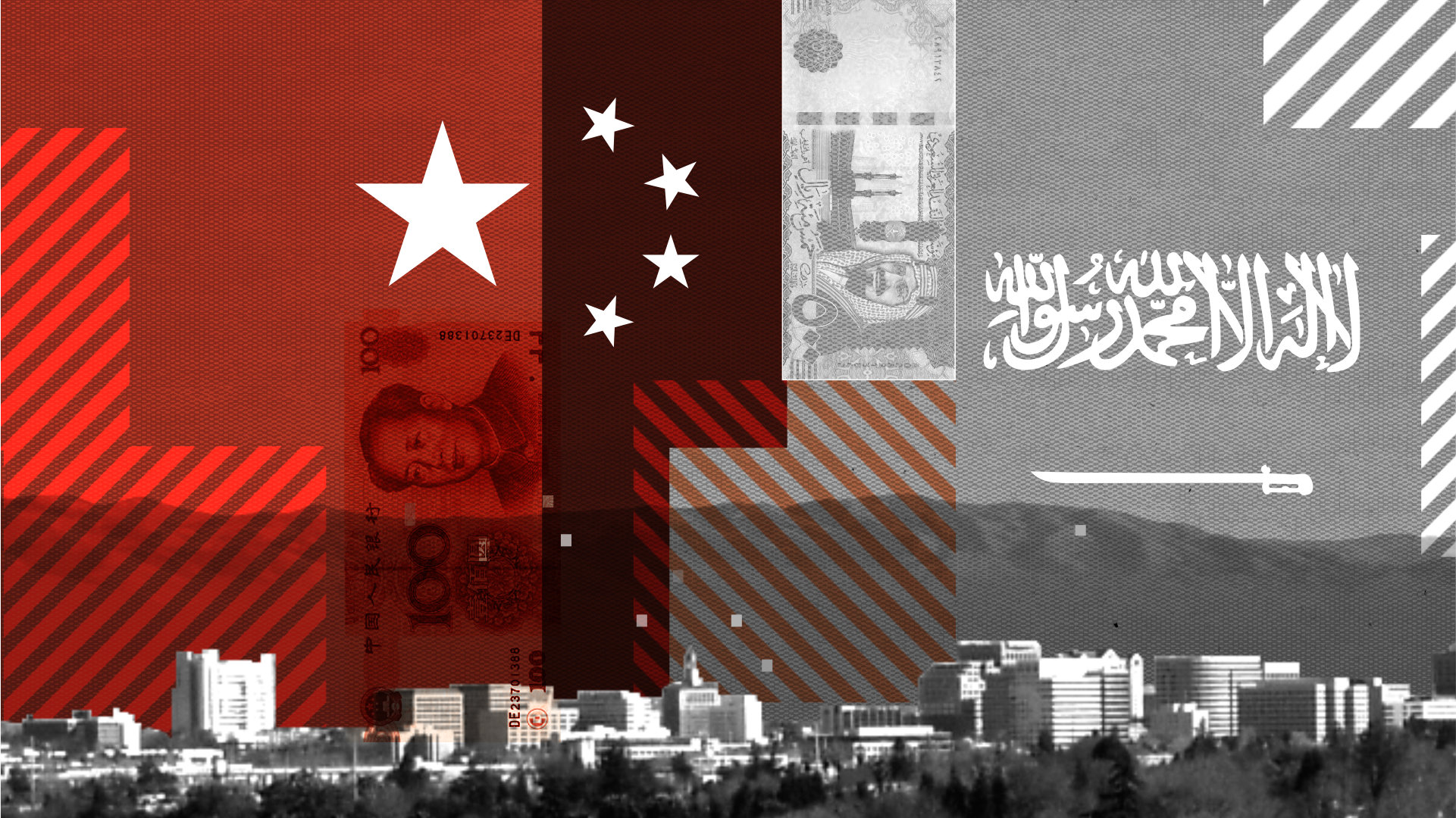 A photo illustration of a Chinese flag superimposed on an urban skyline.