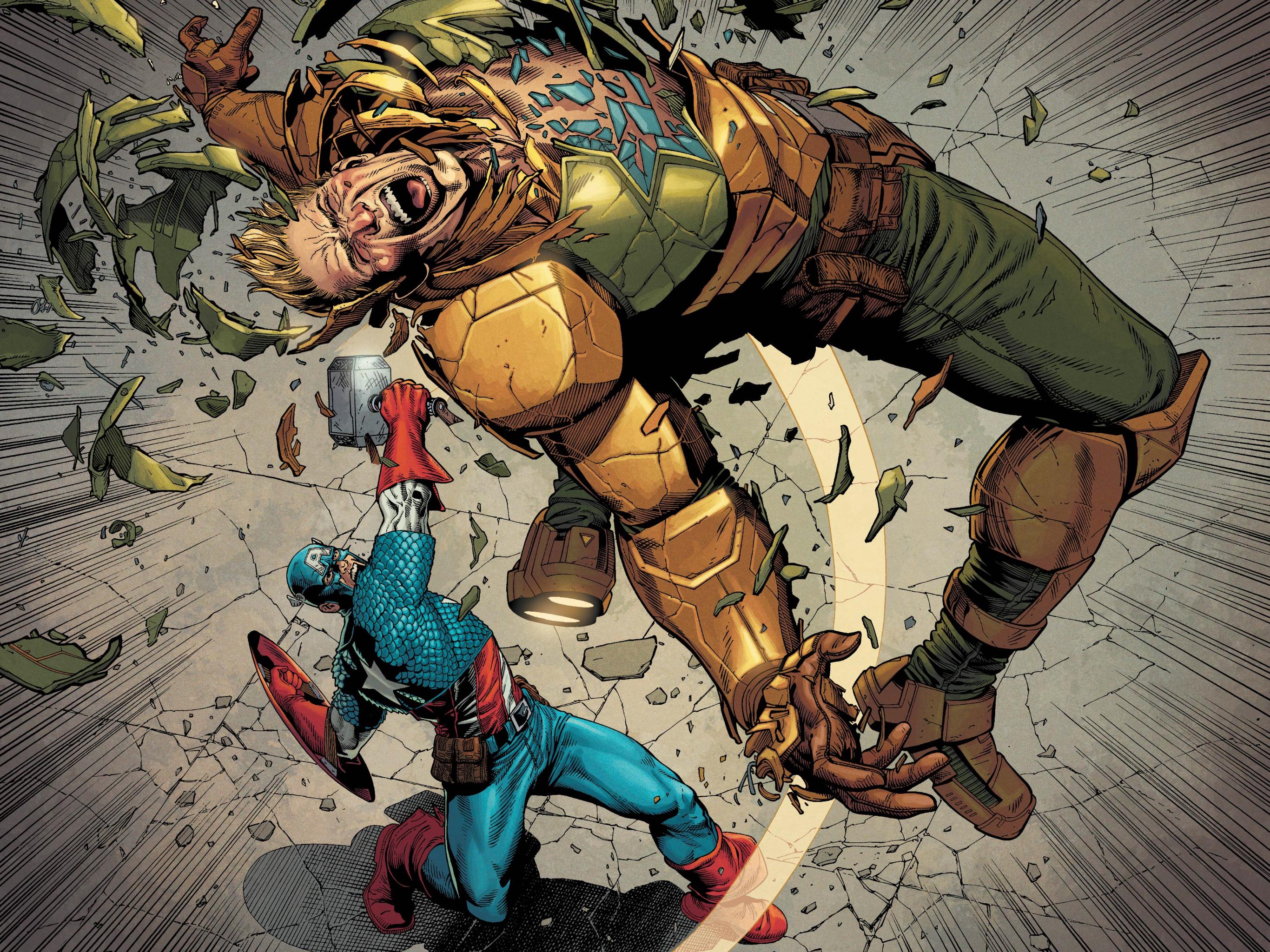 Steve Rogers fighting Steve Rogers in Secret Empire #10, Marvel Comics (2017).