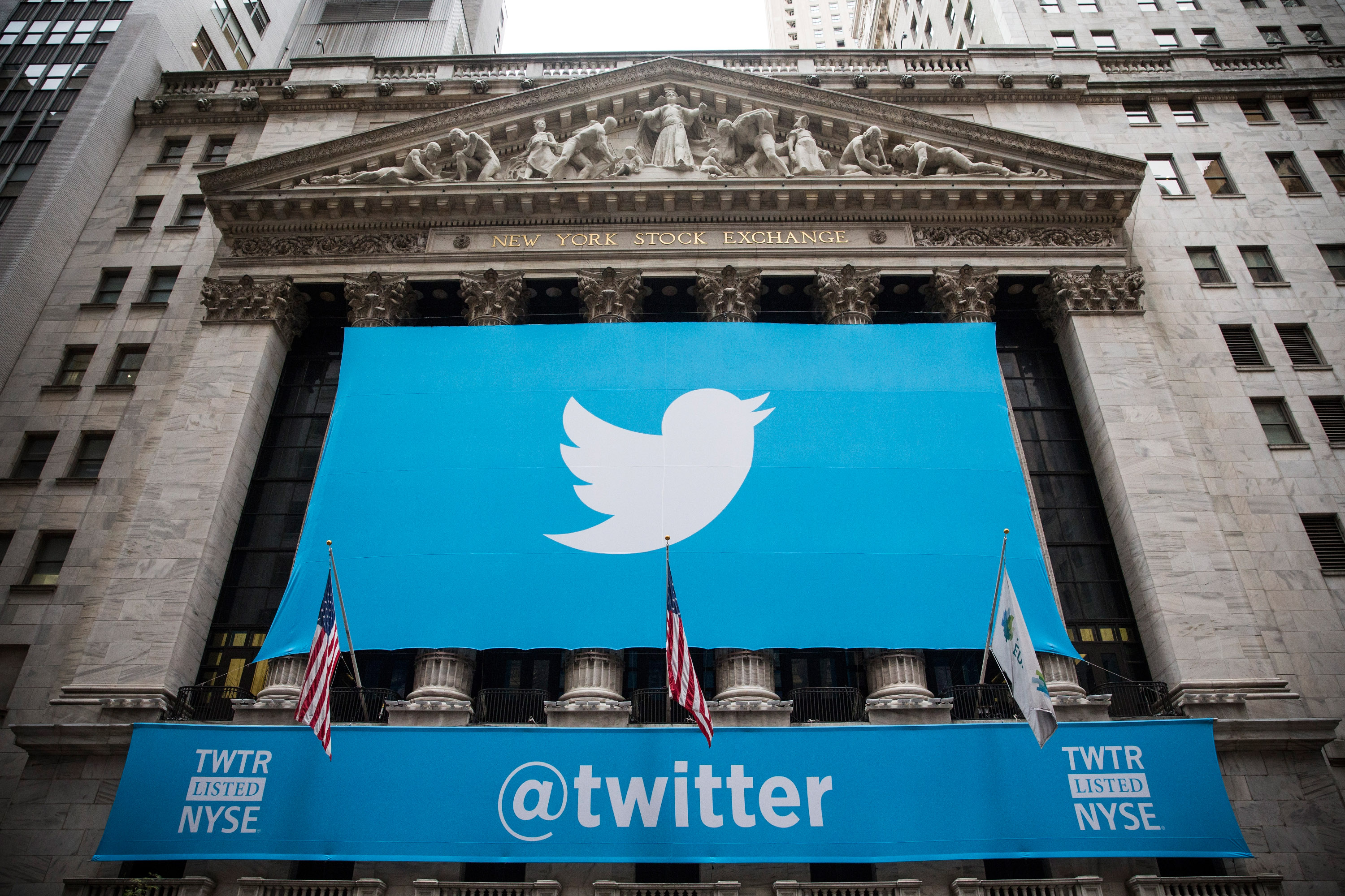 Twitter's logo displayed outside the New York Stock Exchange on the day of its IPO in 2013.