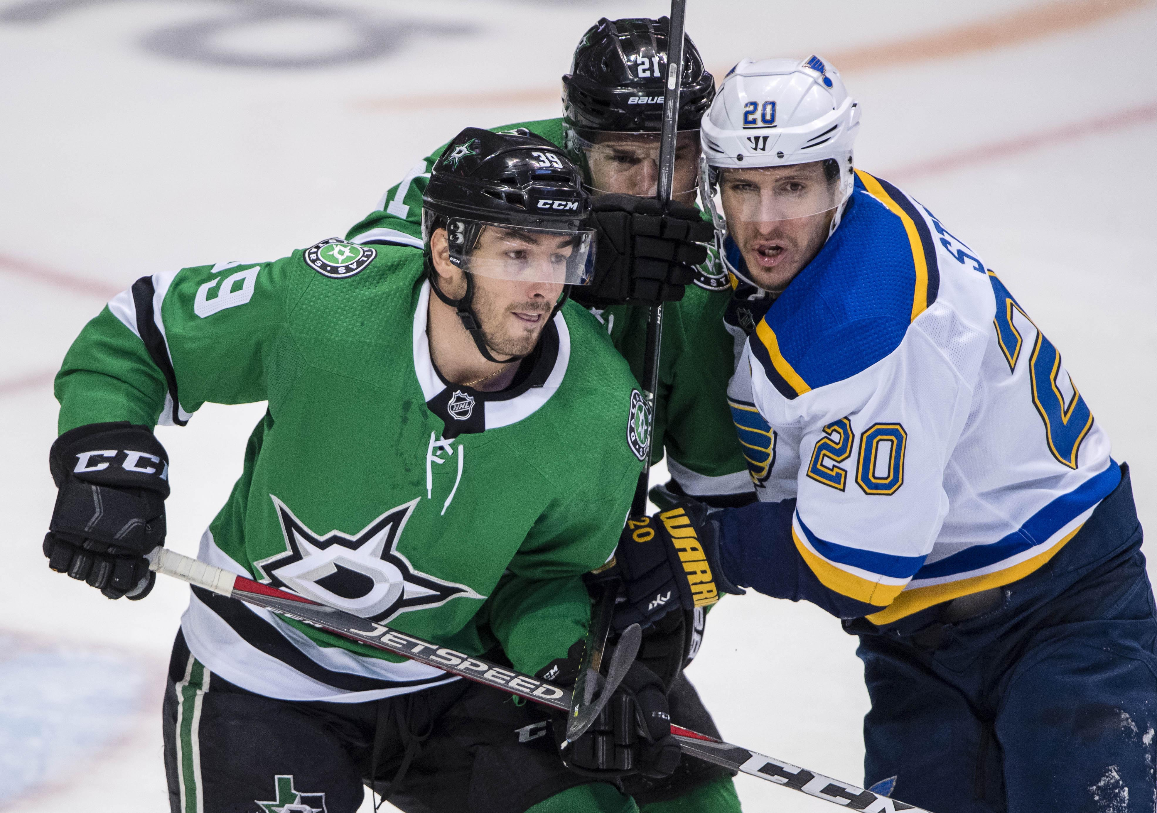 May 1, 2019; Dallas, TX, USA; Dallas Stars defenseman Joel Hanley (39) and defenseman Ben Lovejoy (21) defend against St. Louis Blues left wing Alexander Steen (20) during the third period in game four of the second round of the 2019 Stanley Cup Playoffs