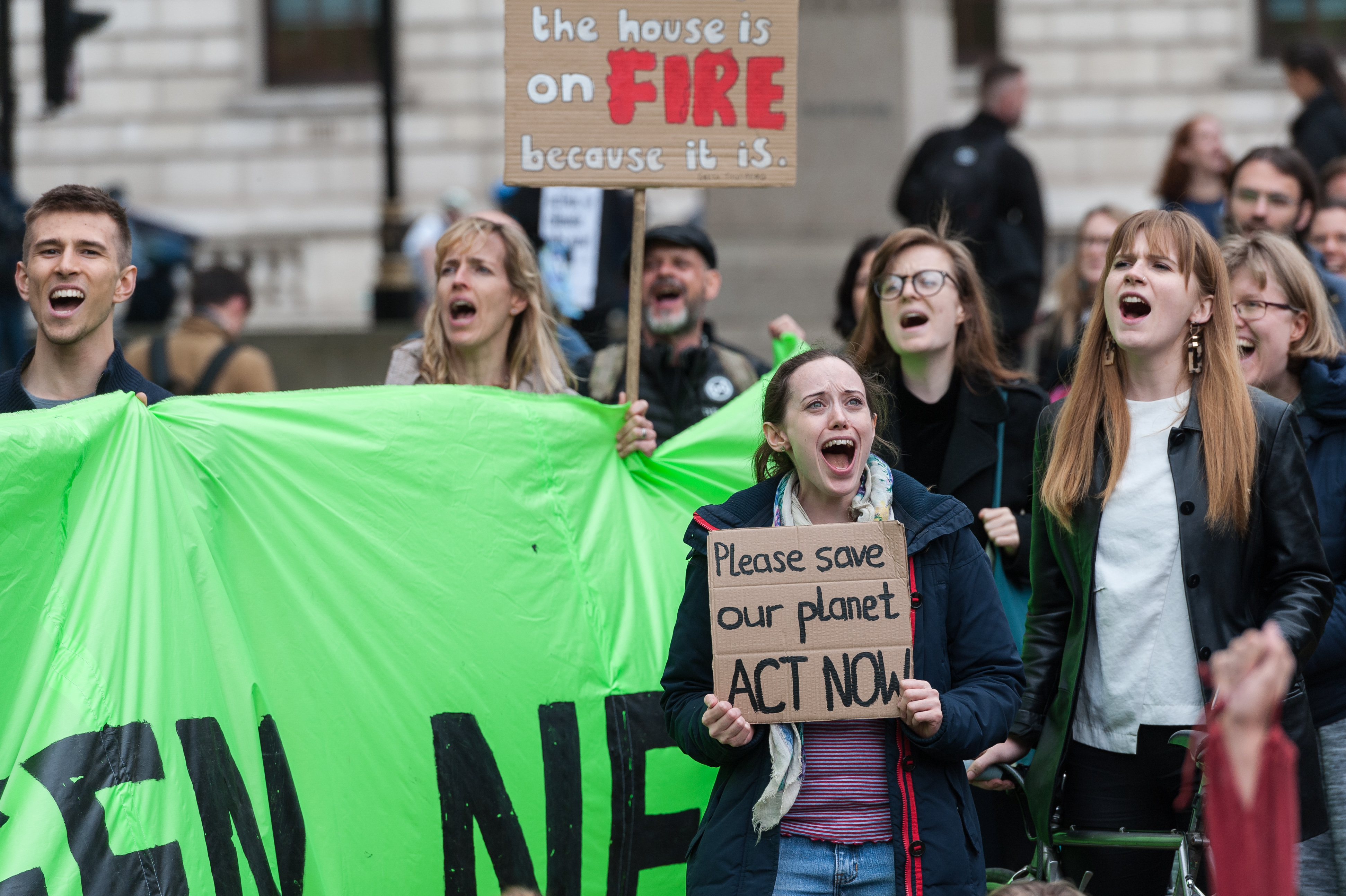 Activists gathered in Parliament Square in London this week to demand that the United Kingdom's parliament declare a climate emergency. The country's Committee on Climate Change recommended this week that the UK reach net-zero carbon emissions by 2050.