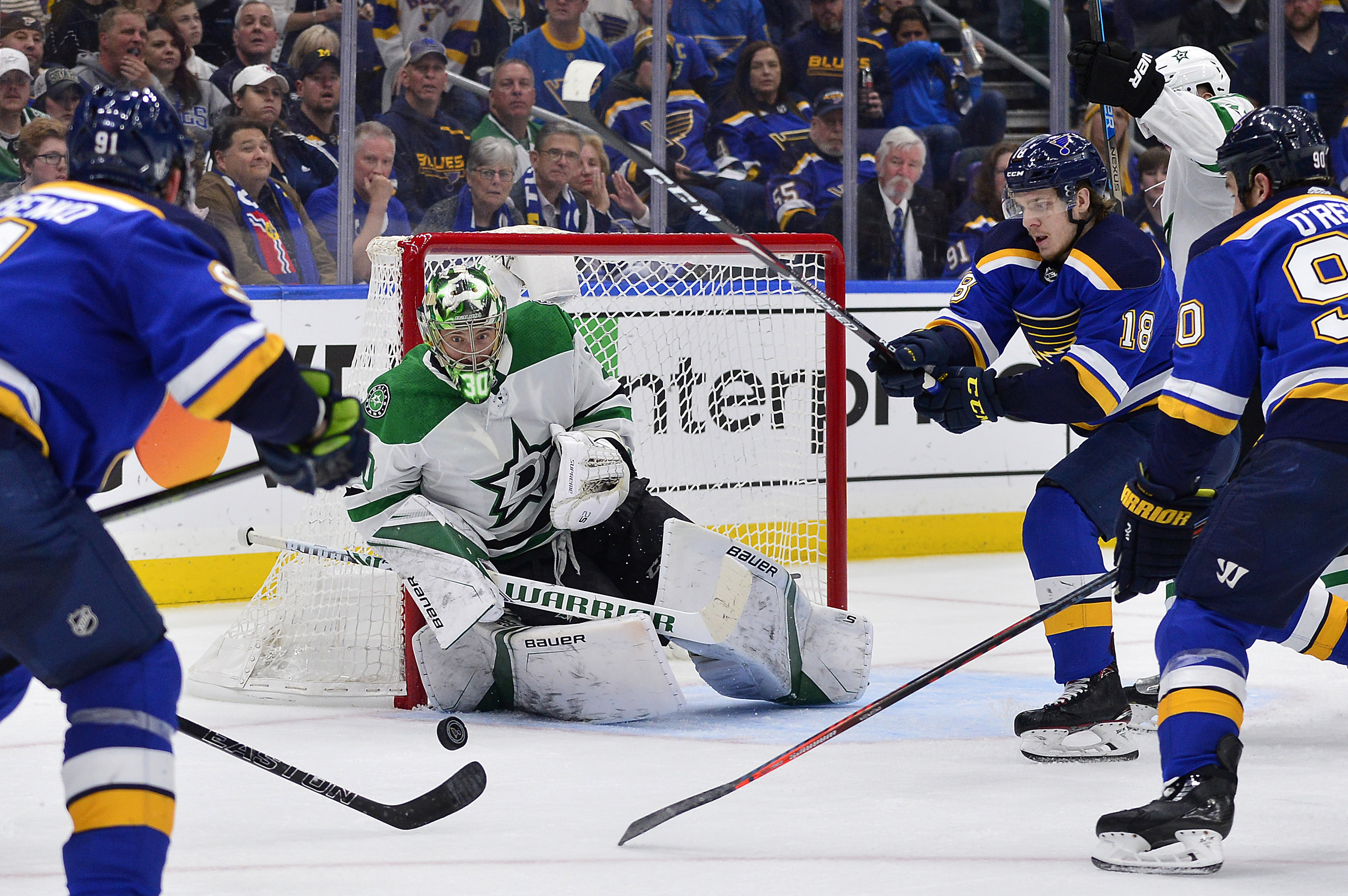 May 3, 2019; St. Louis, MO, USA; Dallas Stars goaltender Ben Bishop (30) defends the net against St. Louis Blues center Robert Thomas (18) and center Ryan O'Reilly (90) during the second period in game five of the second round of the 2019 Stanley Cup Play