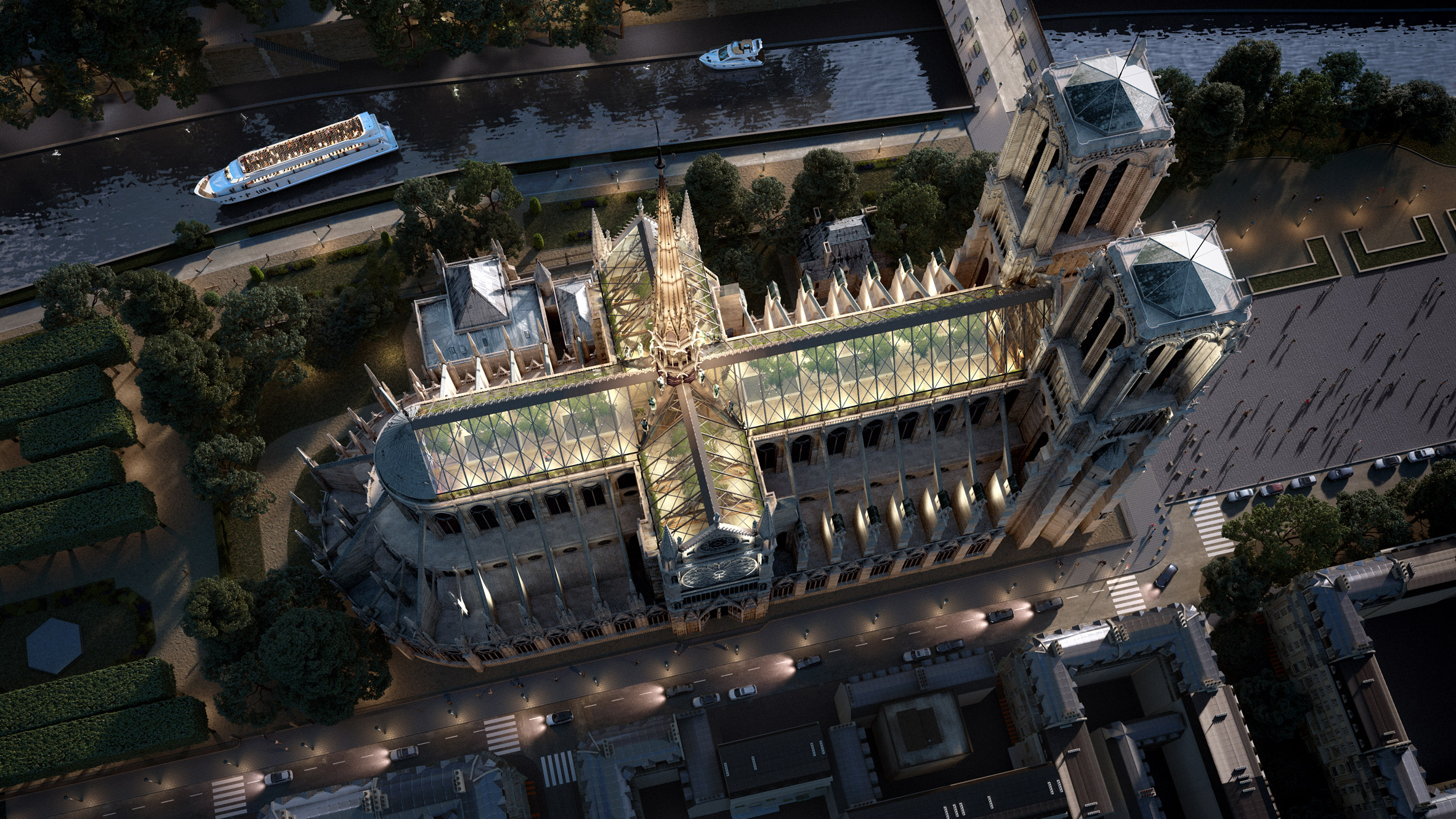 Latest Notre Dame rebuild concept is all glass, wood, and trees