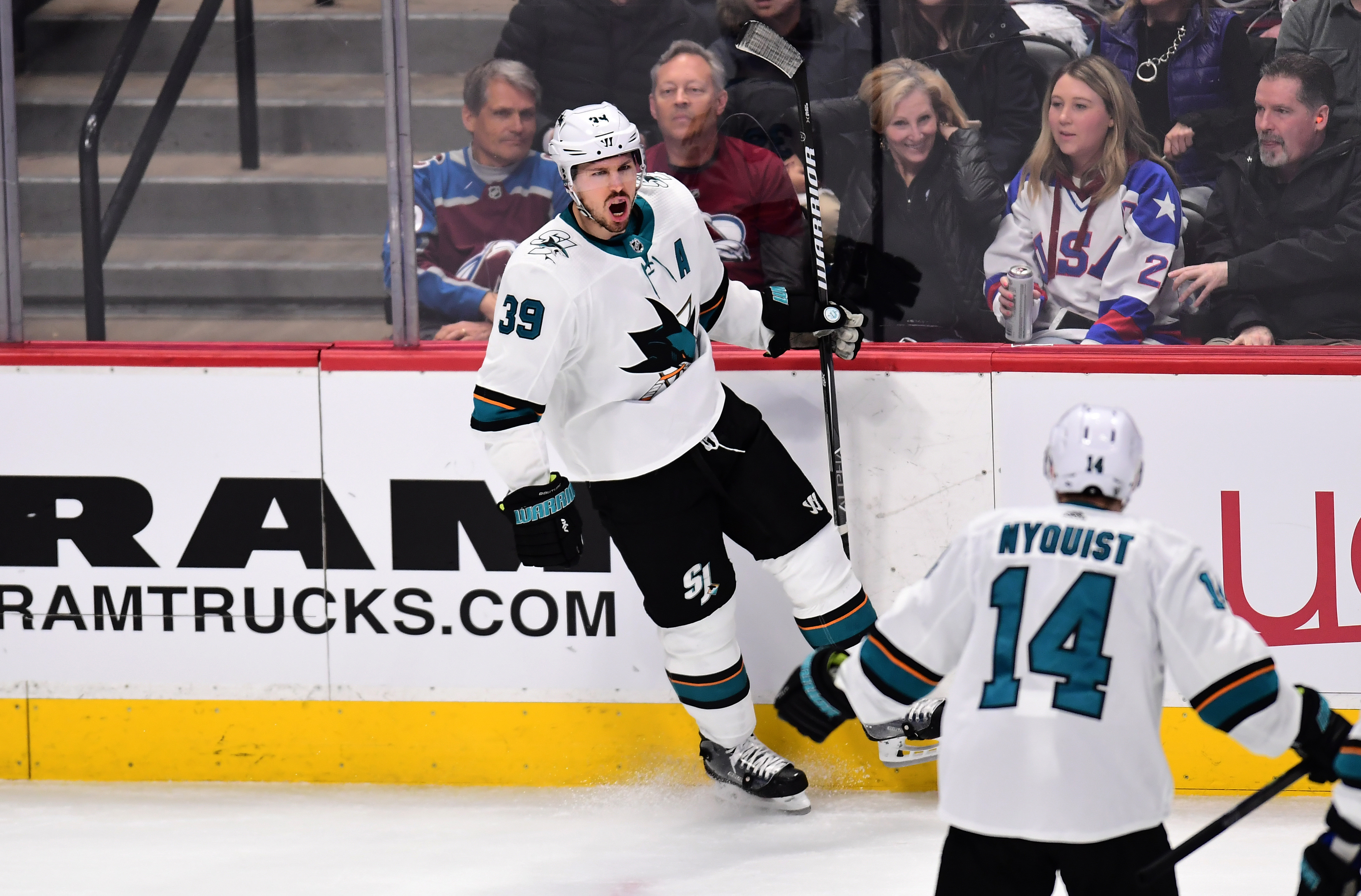 Apr 30, 2019; Denver, CO, USA;San Jose Sharks center Logan Couture (39) celebrates his goal in the first period against the Colorado Avalanche in game three of the second round of the 2019 Stanley Cup Playoffs at Pepsi Center. Mandatory Credit: Ron Chenoy