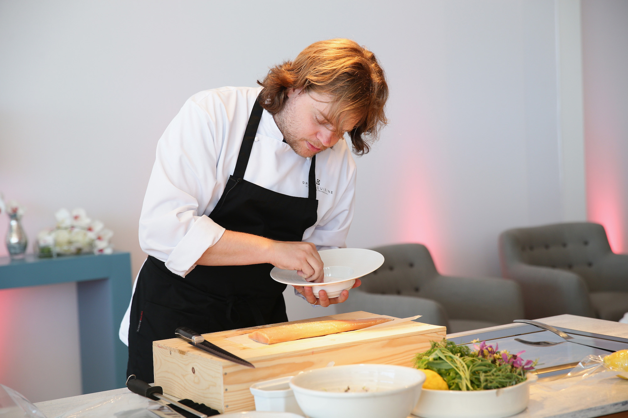 Chef Magnus Nilsson speaks at the Electrolux Grand Cuisine Workshop with Paolo Pettenuzzo and Magnus Nilsson at Electrolux Agora Pavilion on May 17, 2013 in Cannes, France.