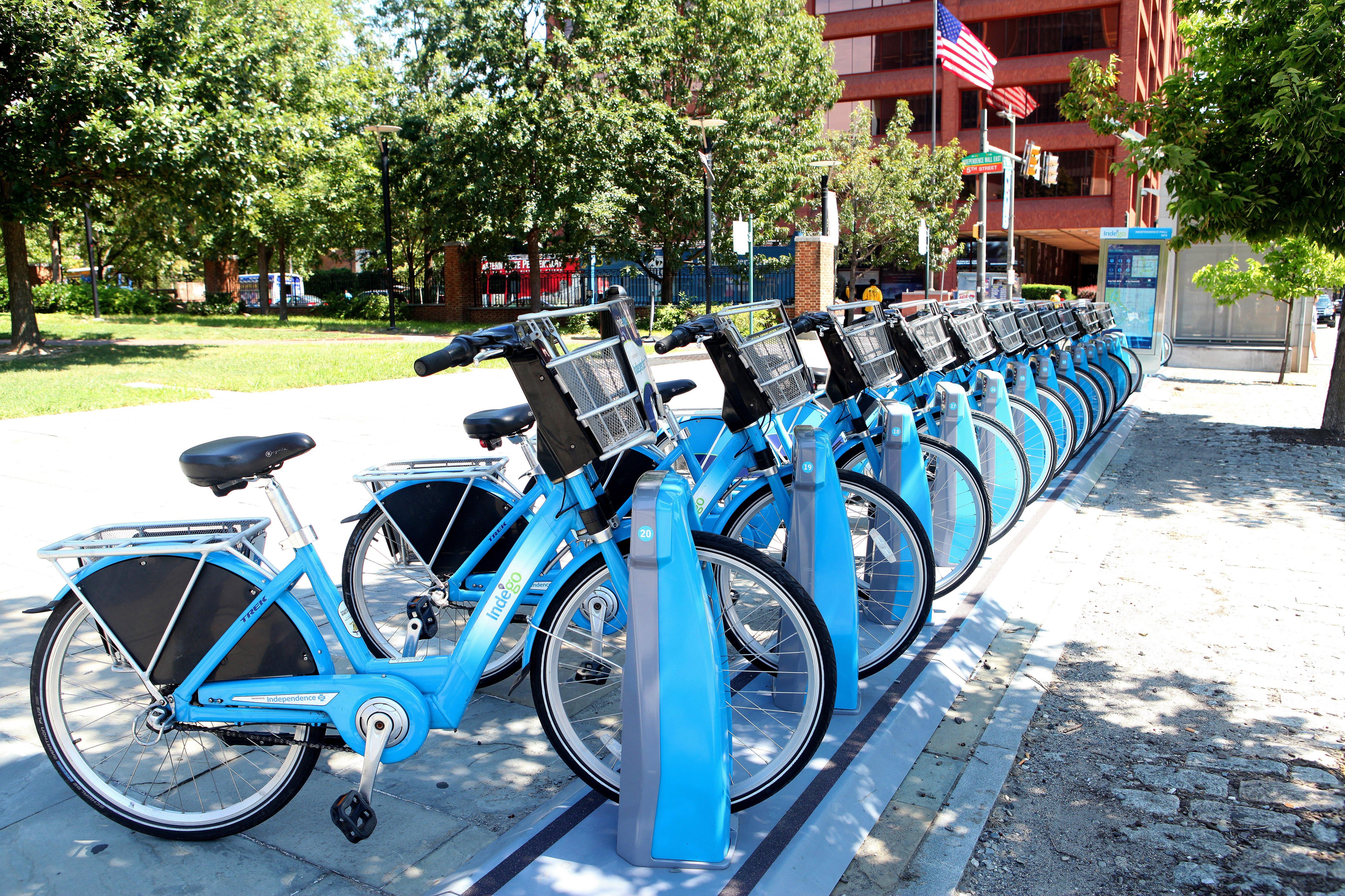 PHILADELPHIA - AUGUST 27:  Philadelphia Bikeshare bicycles downtown on Market Street in Philadelphia, Pennsylvania on August 27, 2016.  (Photo By Raymond Boyd/Getty Images)