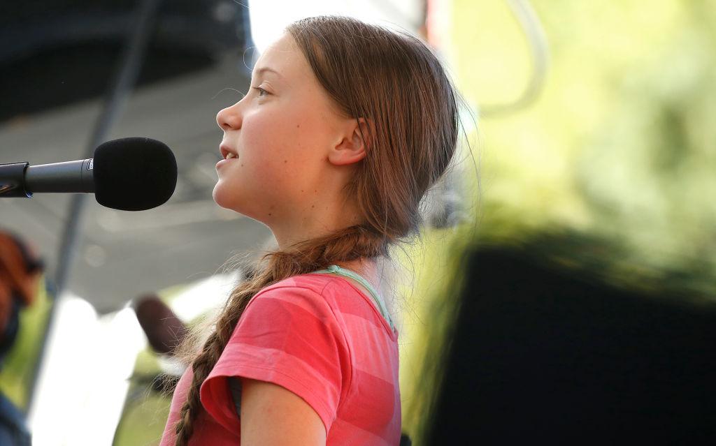 Activist Greta Thunberg speaks on September 20 at the Global Climate Strike event in New York City.