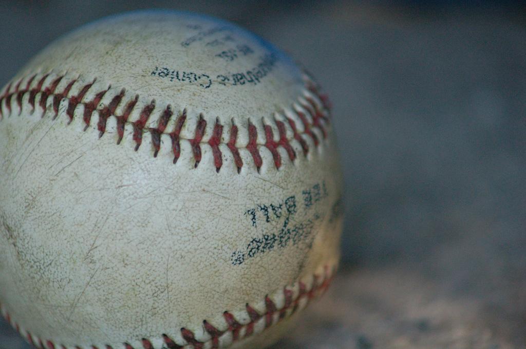 Baseball with seams