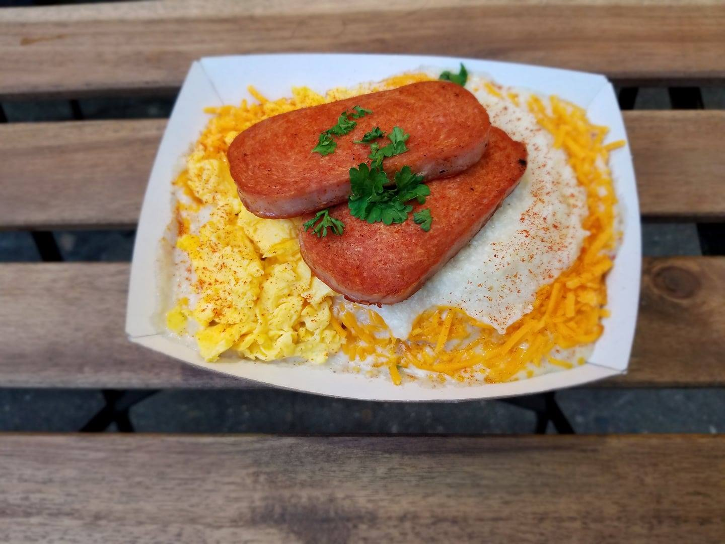 Biscuit Bitch's Spam, eggs, and cheese dish
