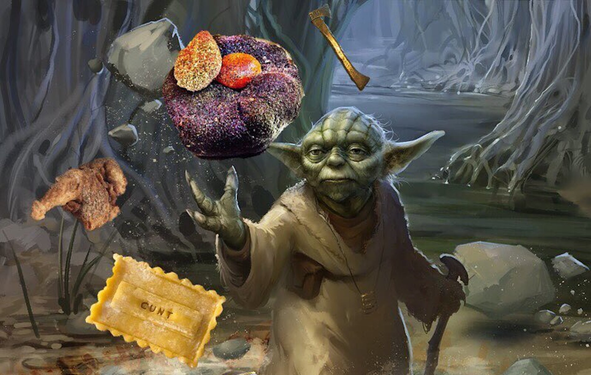 Yoda Loves Cod's Roe on Flatbread Just Like Anybody Else