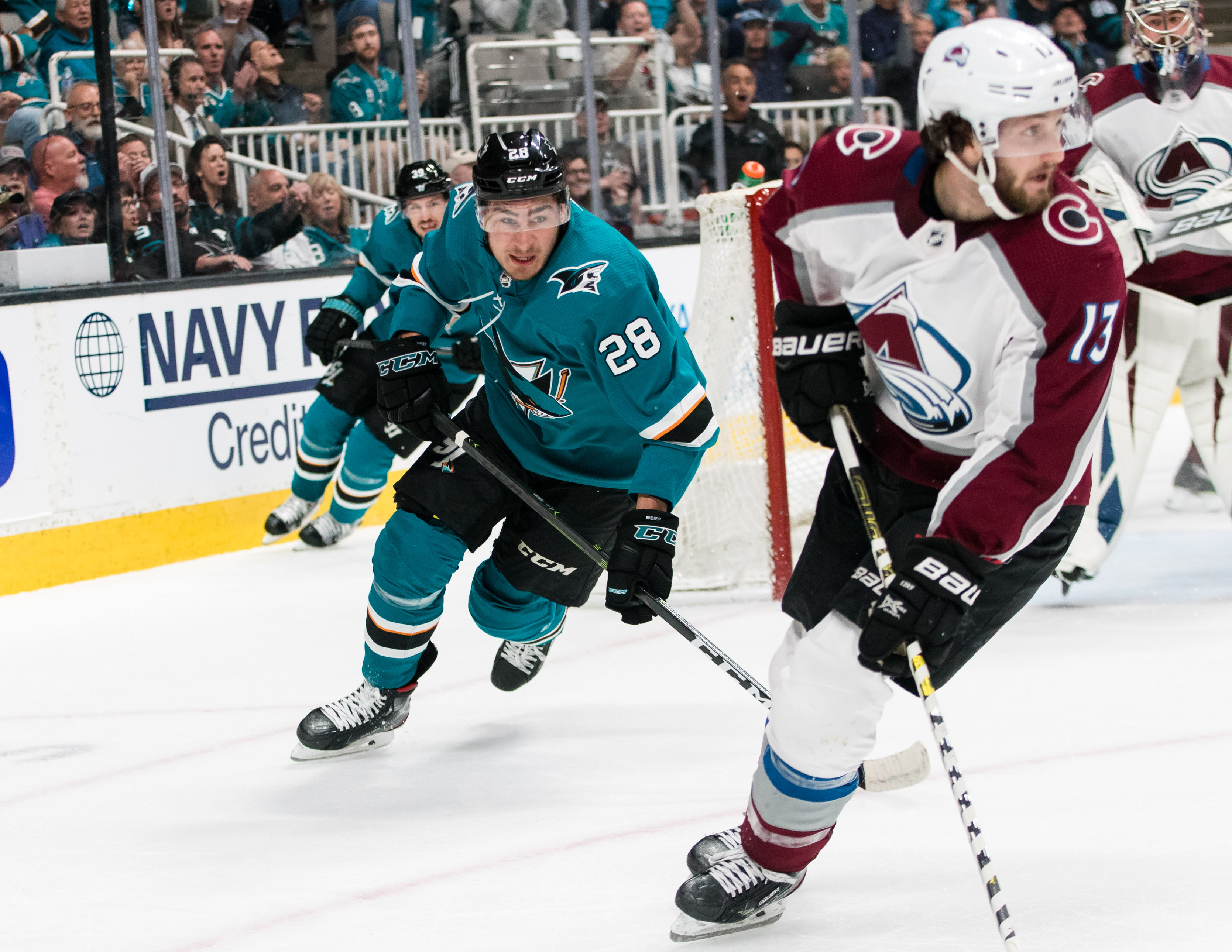 San Jose Sharks right wing Timo Meier (28) follows Colorado Avalanche center Alexander Kerfoot (13) in the first period of game two of the second round of the 2019 Stanley Cup Playoffs at SAP Center at San Jose.
