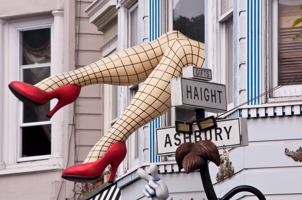 The Haight/Ashbury street signs, near the famous window legs.