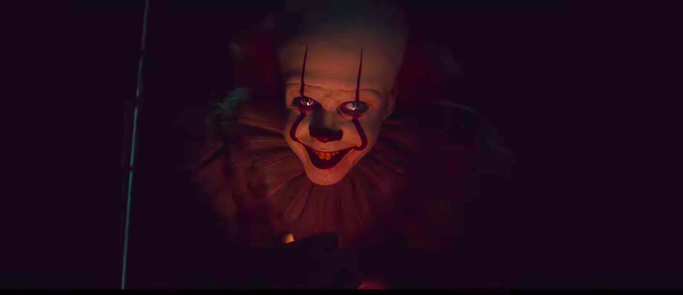 """Actor Bill Skarsgård playing Pennywise the Clown in the horror film """"It Chapter Two."""""""