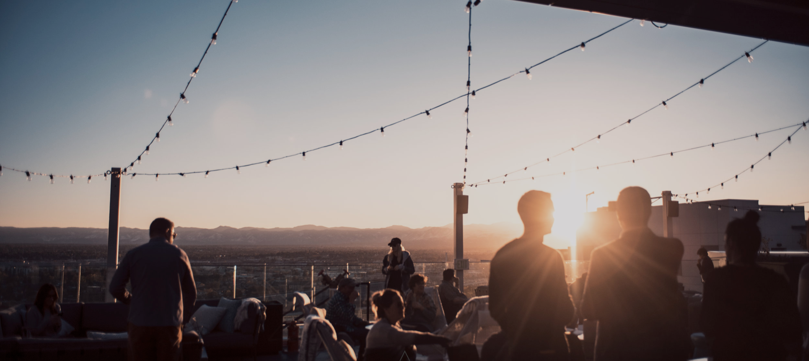 54Thirty's rooftop patio at sunset