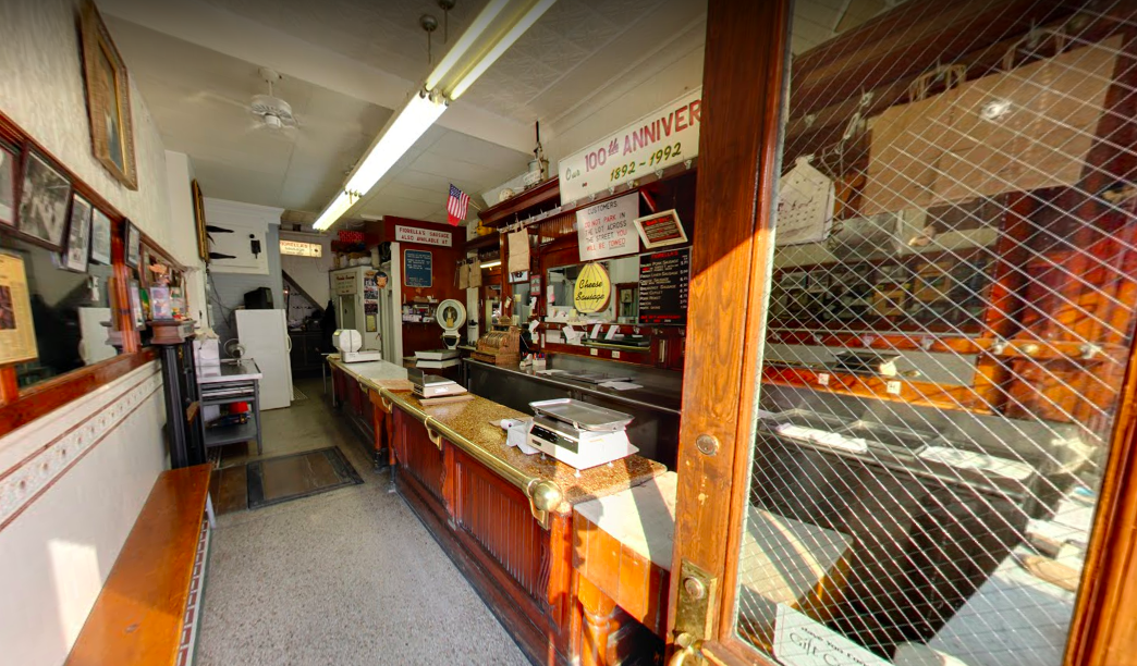 interior of old fashioned butcher shop from the doorway
