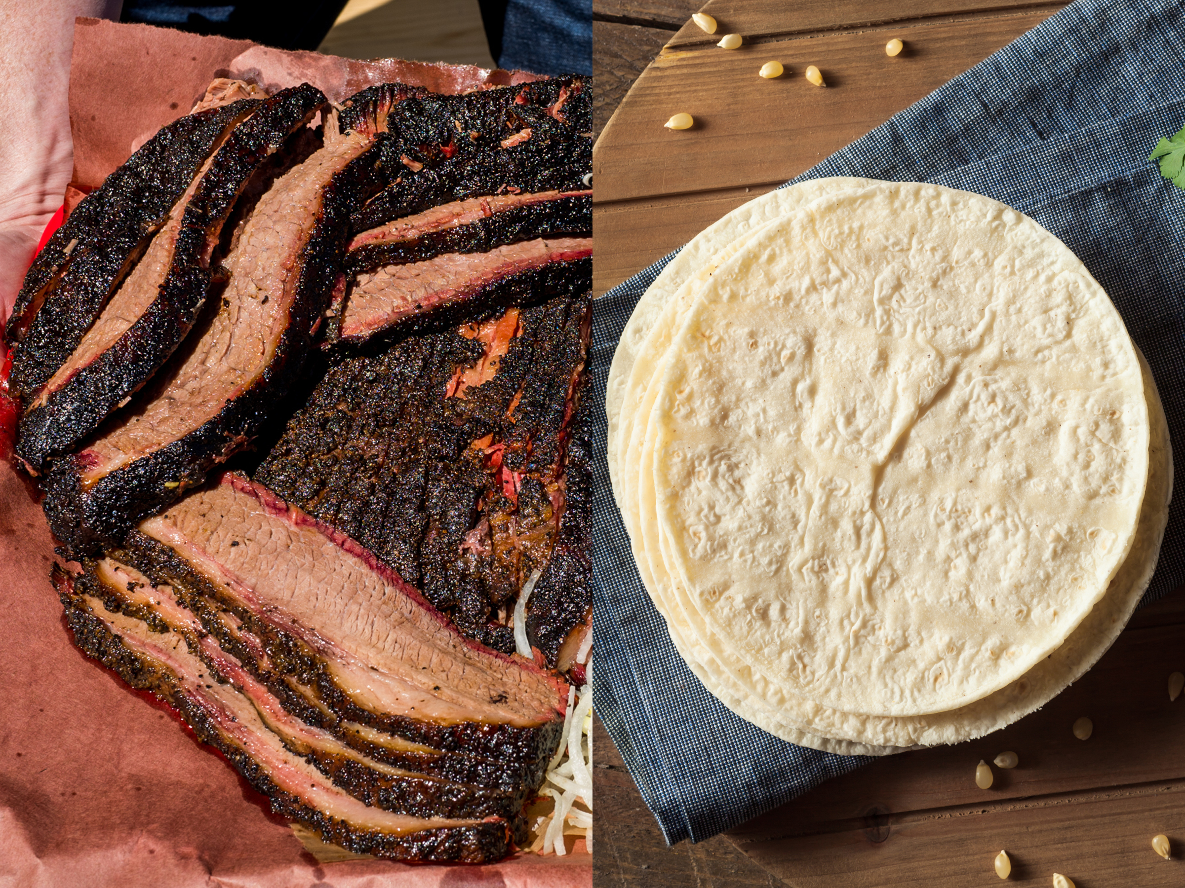Brisket from Franklin Barbecue; stock image of white corn tortillas