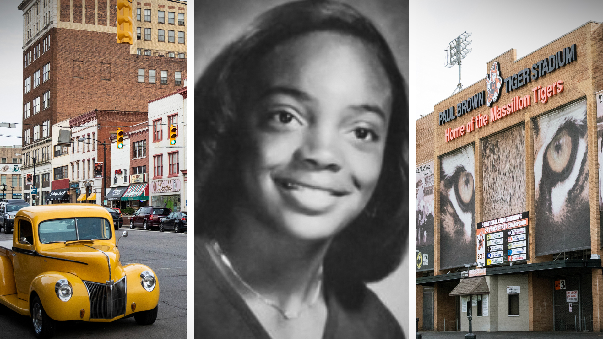 A view of Lincoln Way E in downtown Massillon, Ohio. | Lori Lightfoot's 1980 senior yearbook photo from Washington High School. | Washington High School's Paul Brown Tiger Stadium. | Photos by Ashlee Rezin/Sun-Times; Illustration by Brian Ernst/Sun-T