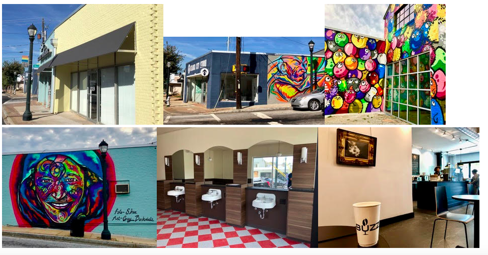 A collage of The Point today, with Elevate murals, the barbershop, and coffeehouse.