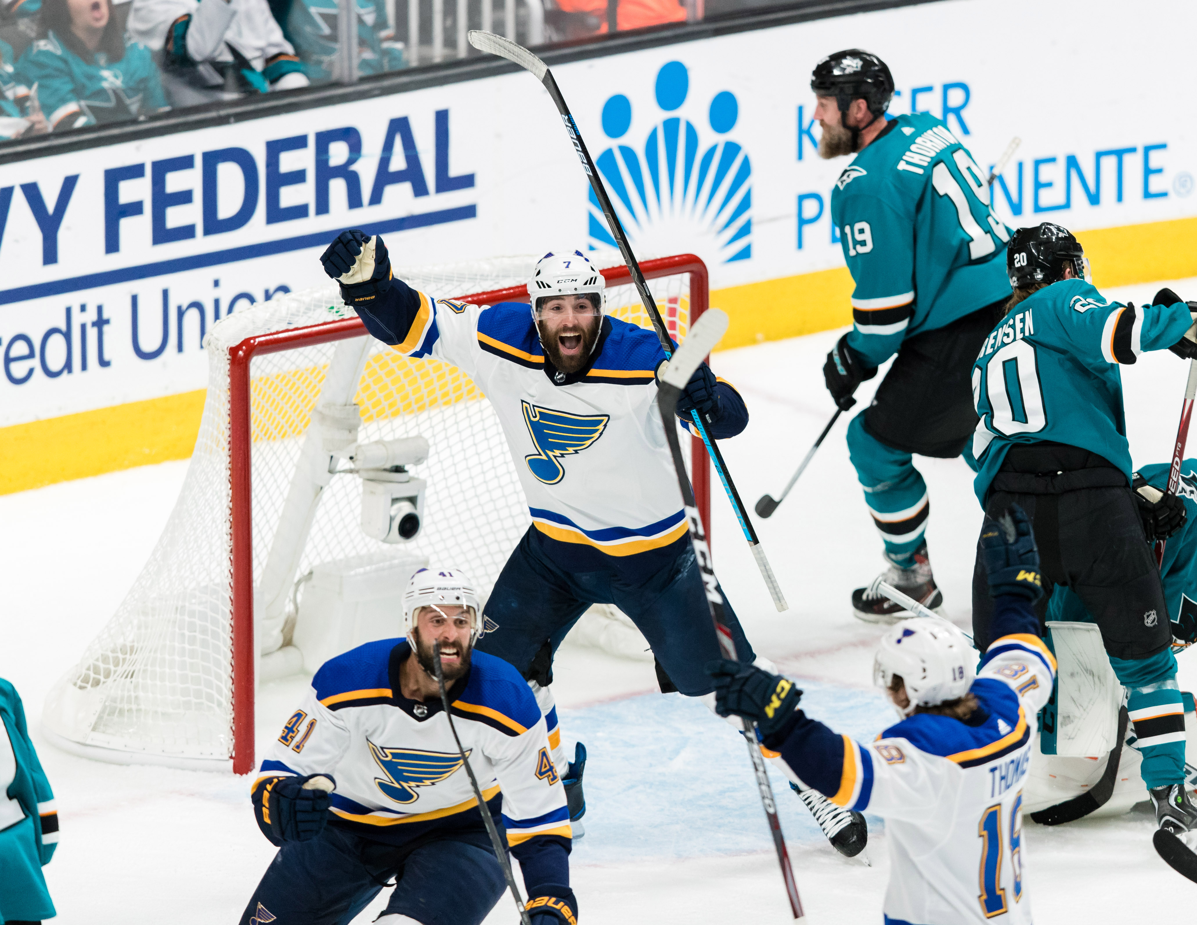 St. Louis Blues defenseman Robert Bortuzzo (41) celebrates with left wing Pat Maroon (7) after scoring a goal against the San Jose Sharks celebrates after \in the second period of game two of the Western Conference Final of the 2019 Stanley Cup Playoffs a