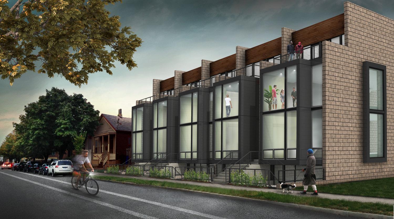 Modern townhome development in Corktown breaks ground