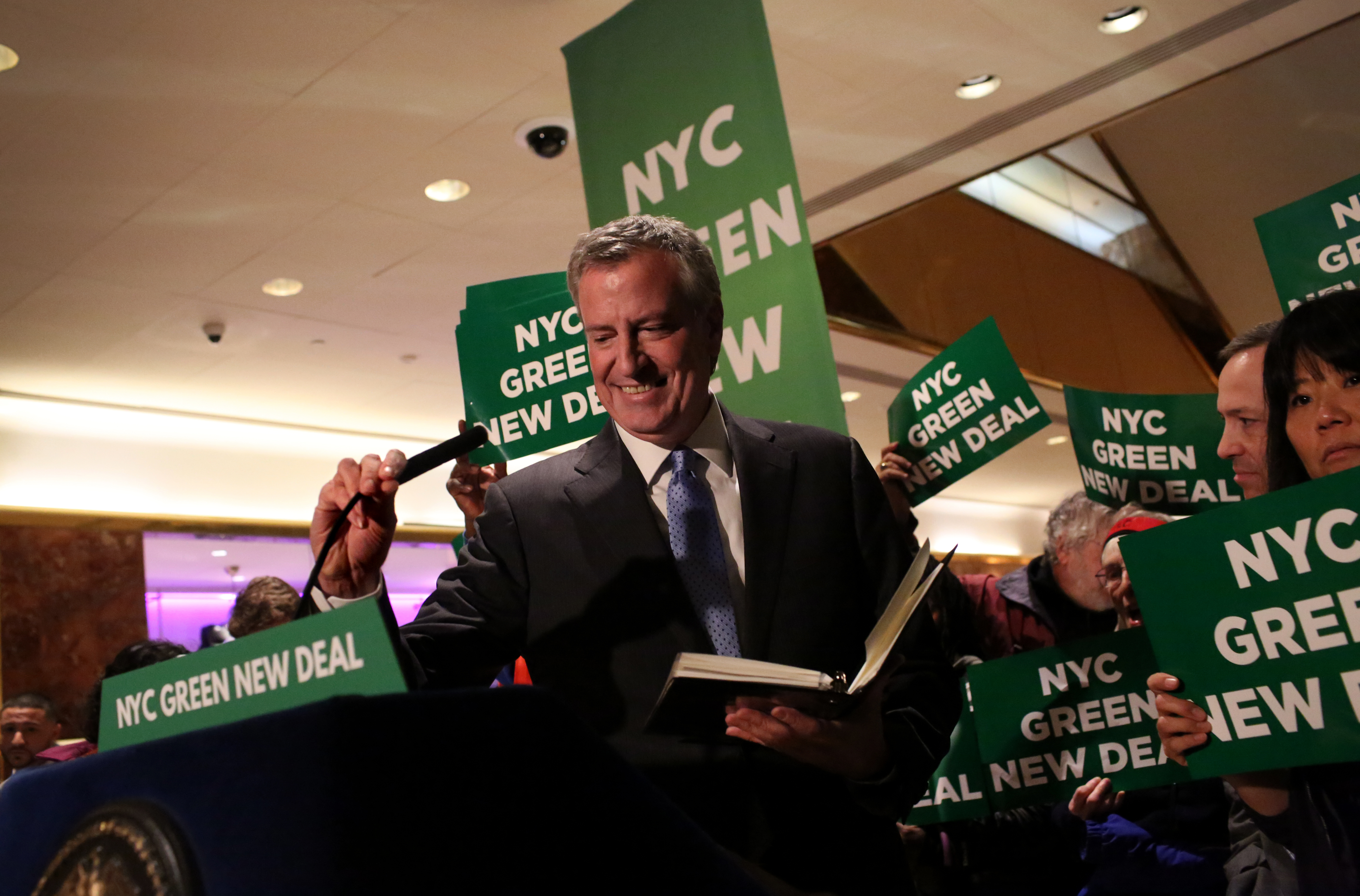 Mayor Bill De Blasio Holds Green New Deal Rally At Trump Tower