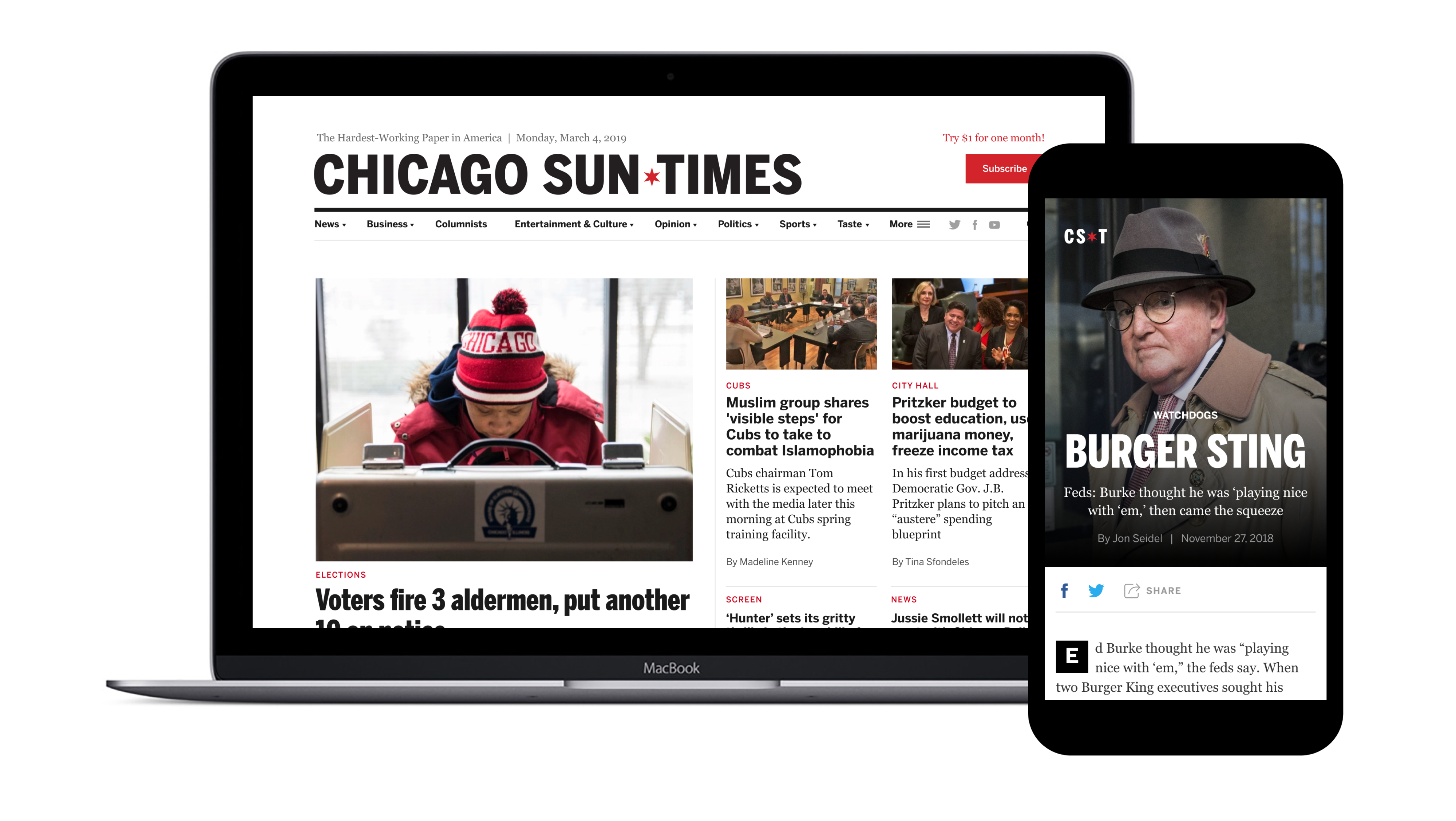 A laptop and phone side by side, displaying the new Sun-Times website.