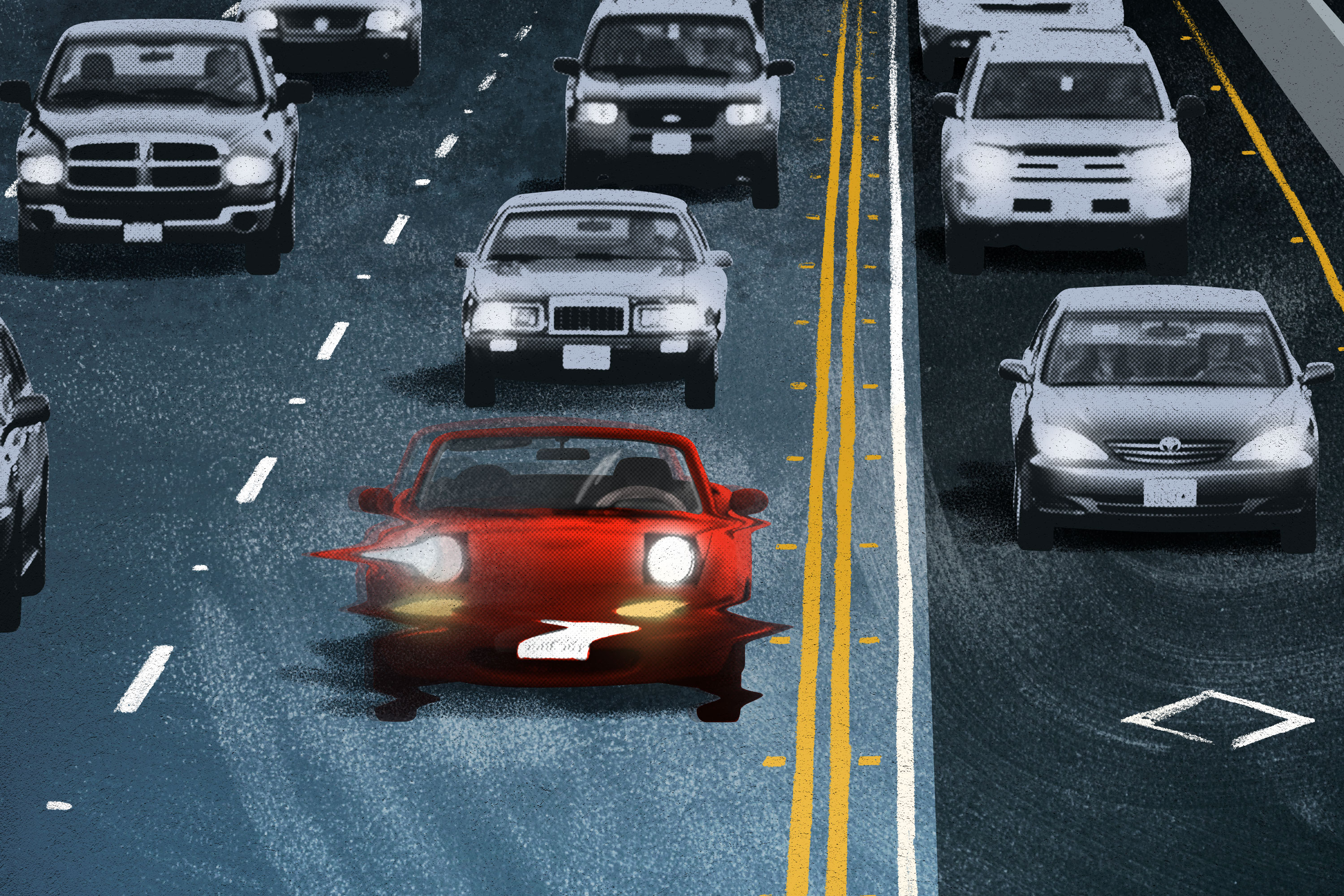 A photo illustration of cars on a road
