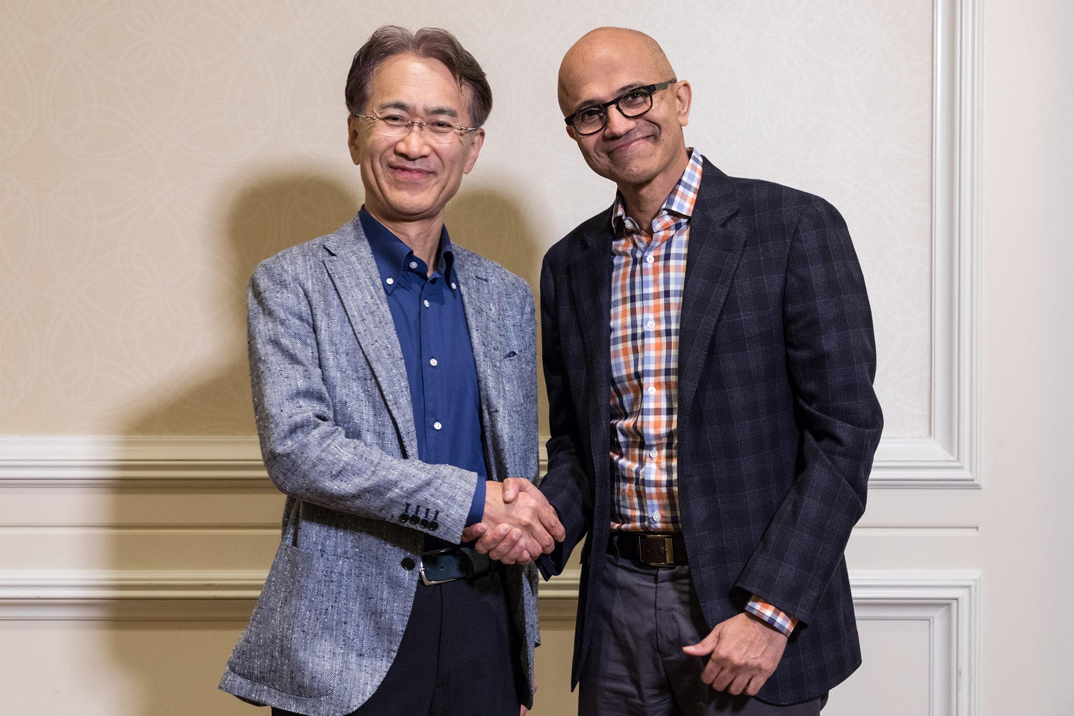 Chief executives Kenichiro Yoshida of Sony and Satya Nadella of Microsoft
