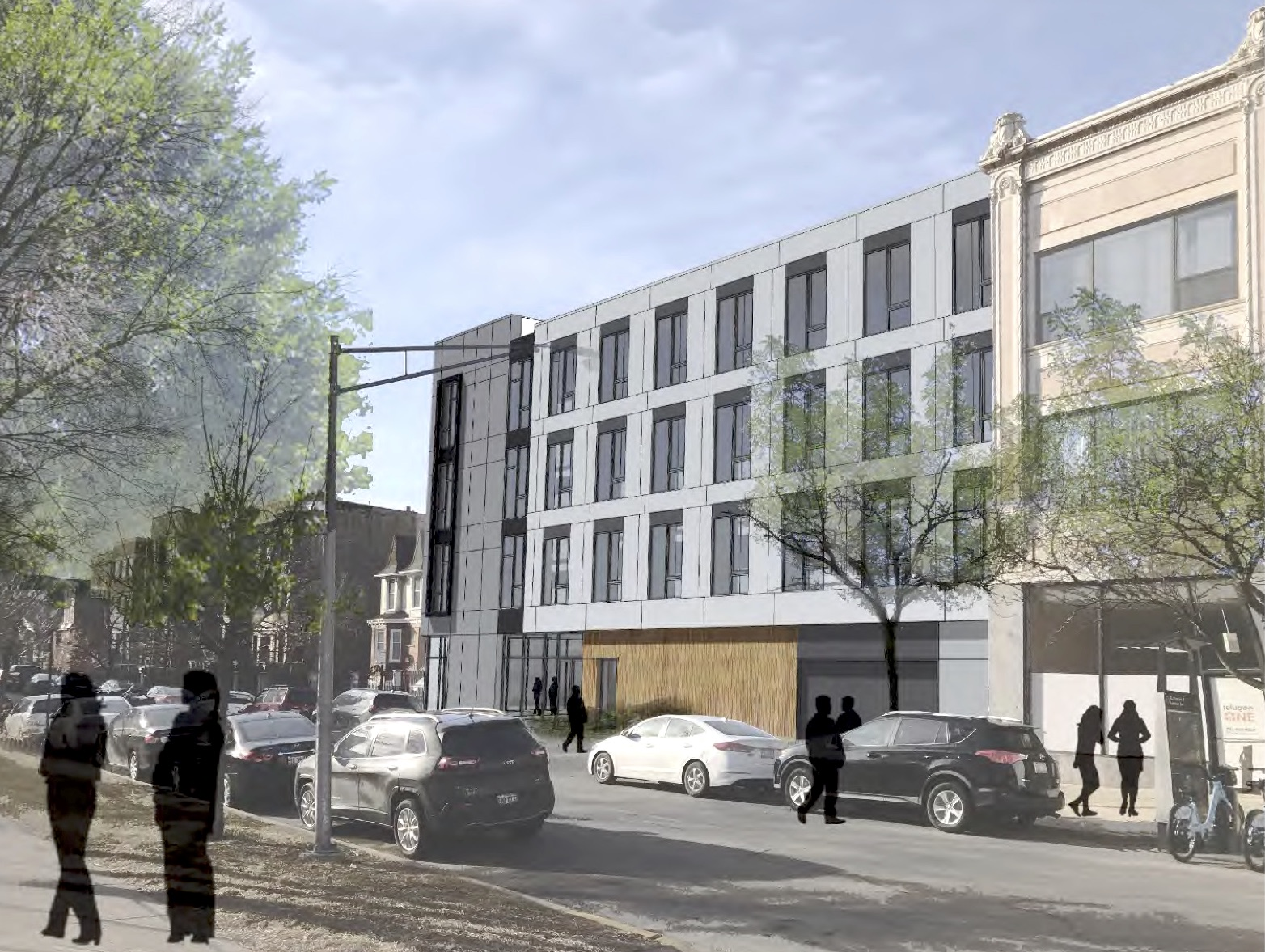 Four-story TOD pitched for Uptown parking lot near Aragon Ballroom