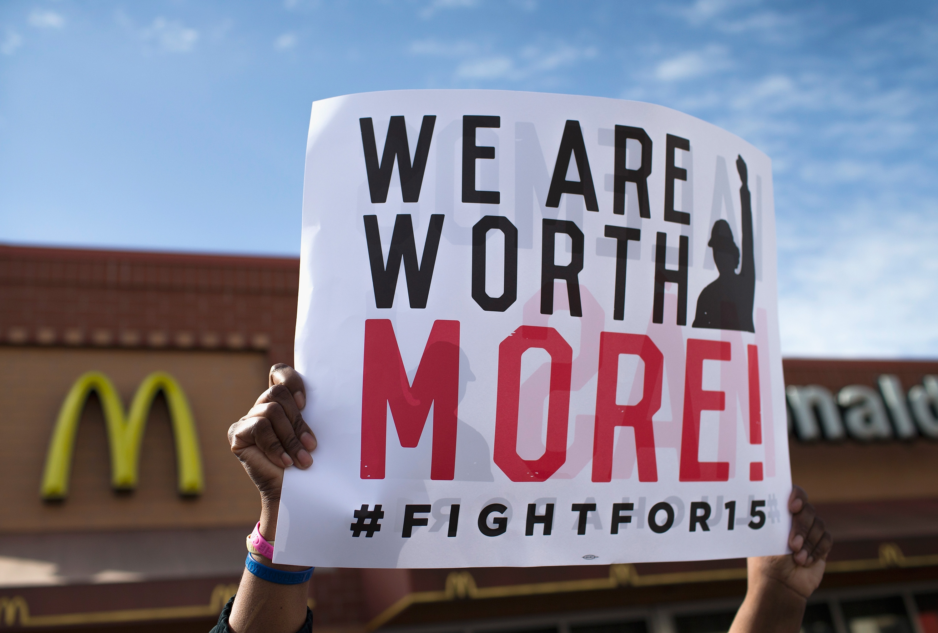 Demonstrators gather in front of a McDonald's restaurant to call for an increase in minimum wage on April 15, 2015 in Chicago, Illinois. The demonstration was one of many held nationwide to draw attention to the cause.