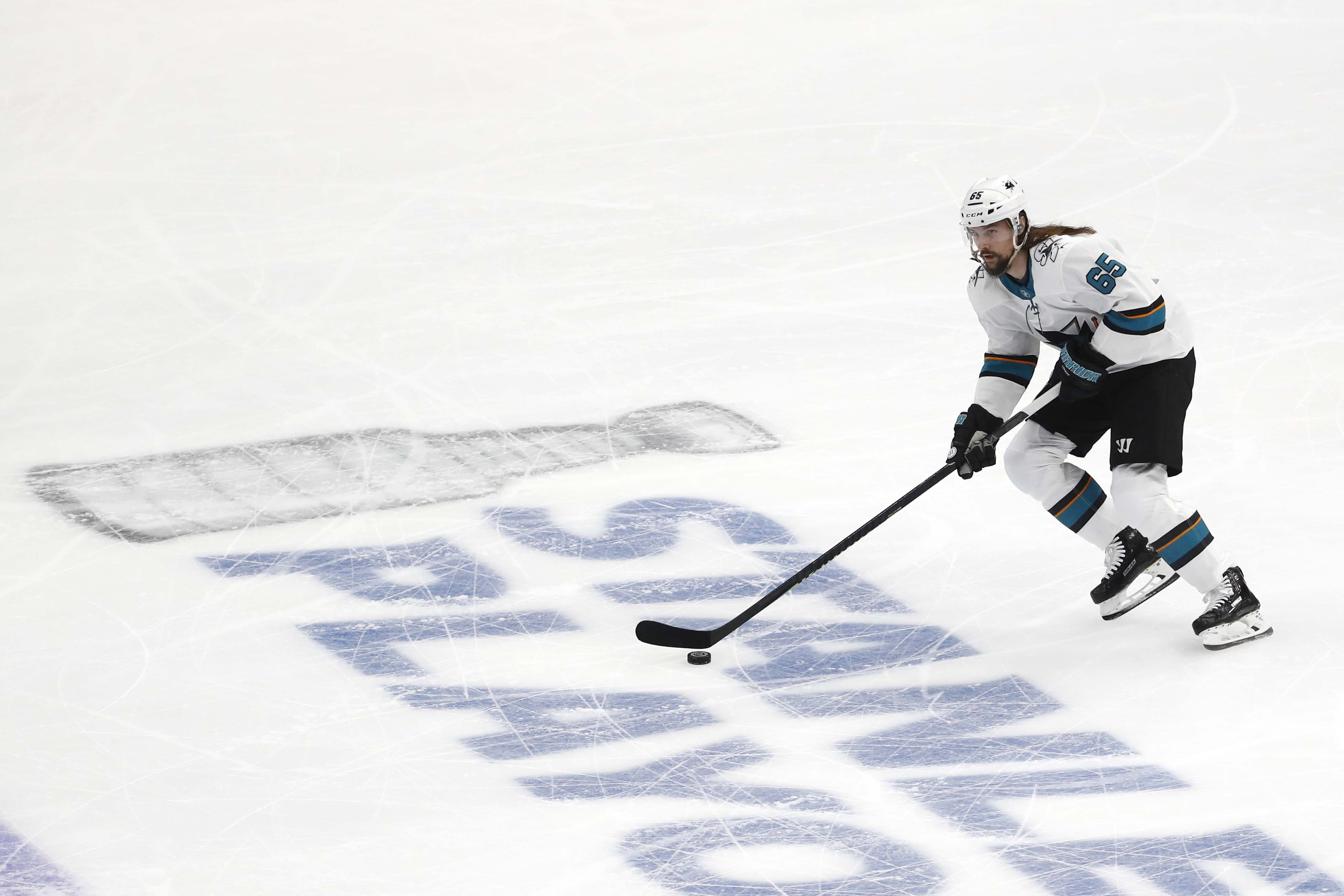 San Jose Sharks defenseman Erik Karlsson (65) skates with the puck during the first period in game three of the Western Conference Final of the 2019 Stanley Cup Playoffs against the St. Louis Blues at Enterprise Center.