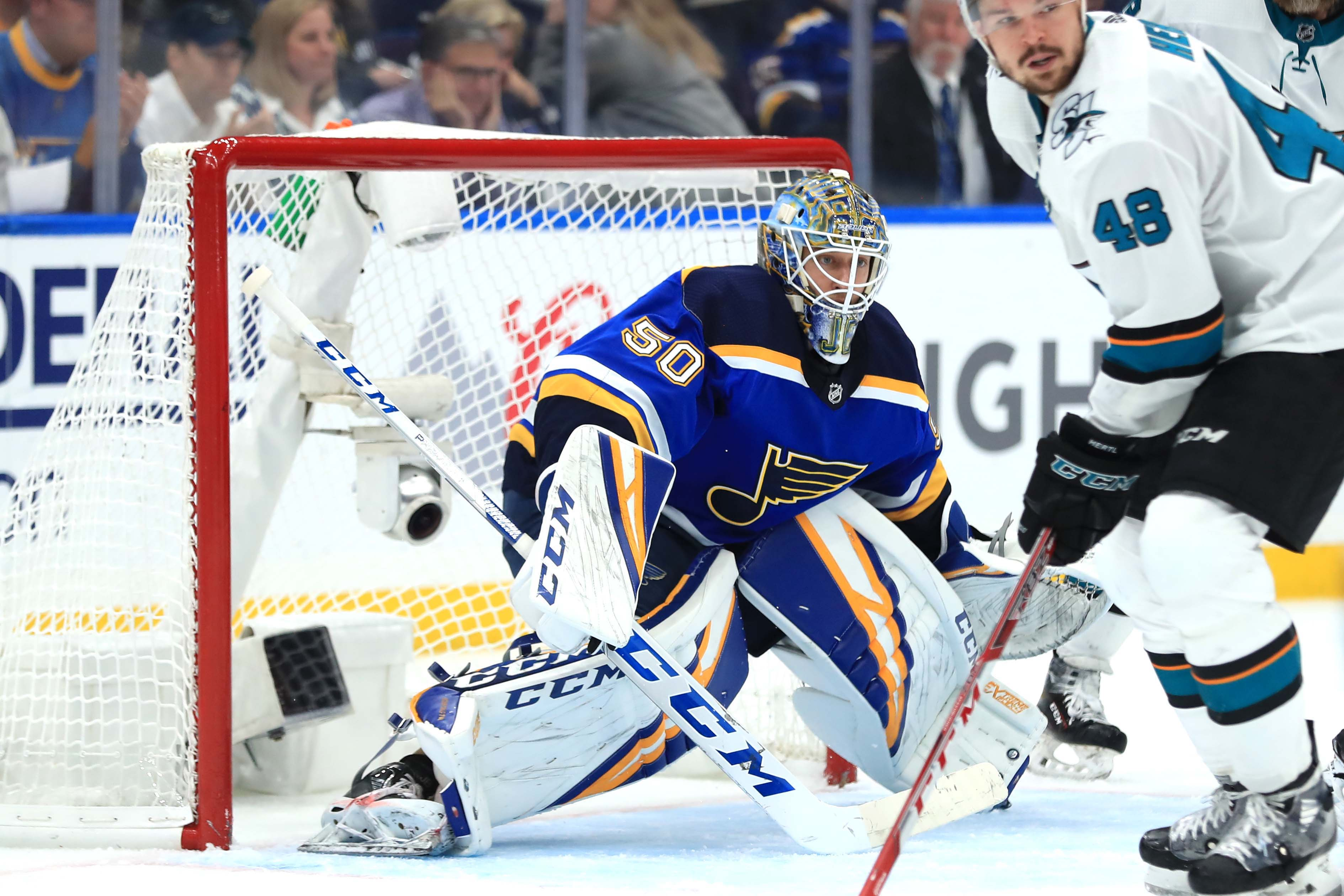 May 17, 2019; St. Louis, MO, USA; St. Louis Blues goaltender Jordan Binnington (50) defends the net against the San Jose Sharks in the third period during game four of the Western Conference Final of the 2019 Stanley Cup Playoffs at Enterprise Center.