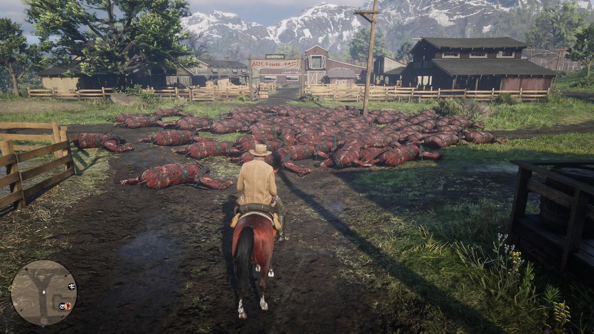 Pile of dead horses in Rockstar Games' Red Dead Online
