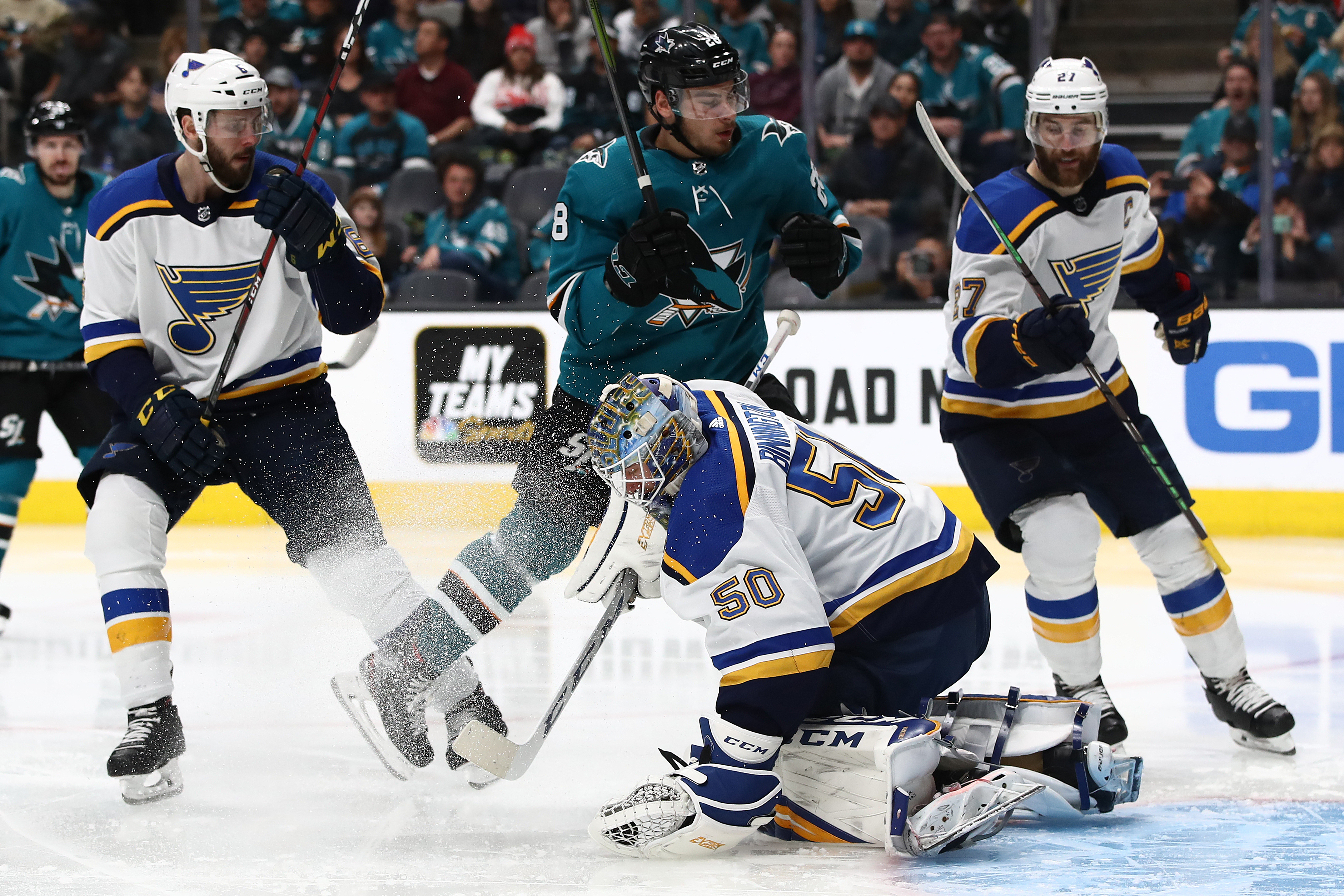 Jordan Binnington #50 of the St. Louis Blues makes a save in front of Timo Meier #28 of the San Jose Sharks in Game Five of the Western Conference Final during the 2019 NHL Stanley Cup Playoffs at SAP Center on May 19, 2019 in San Jose, California.