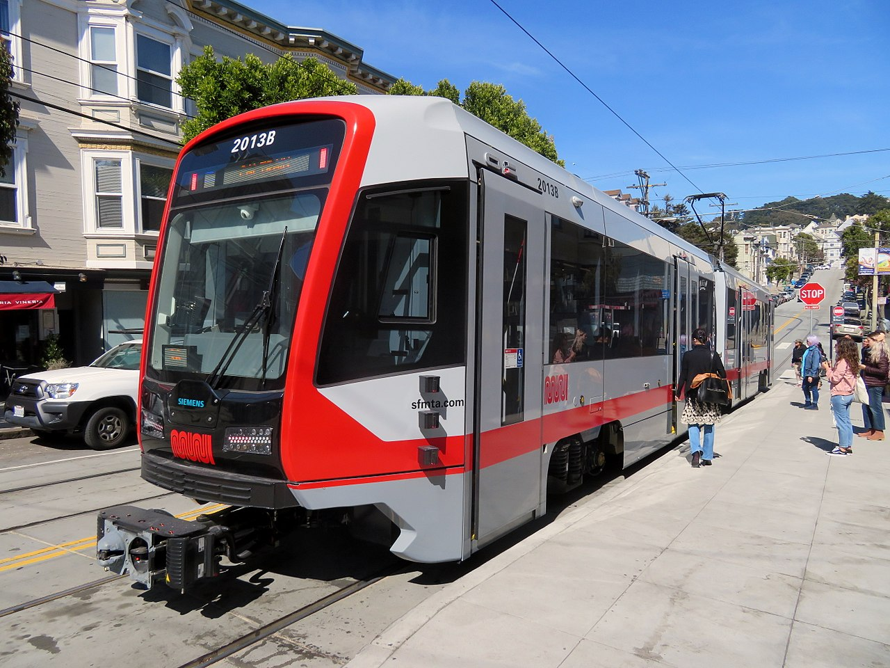 A Siemens-built Muni train on SF streets.
