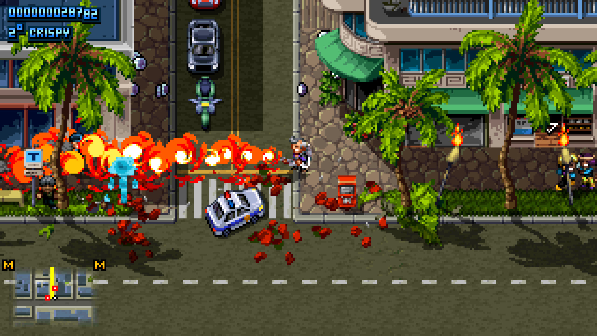 Using a flamethrower in Shakedown Hawaii